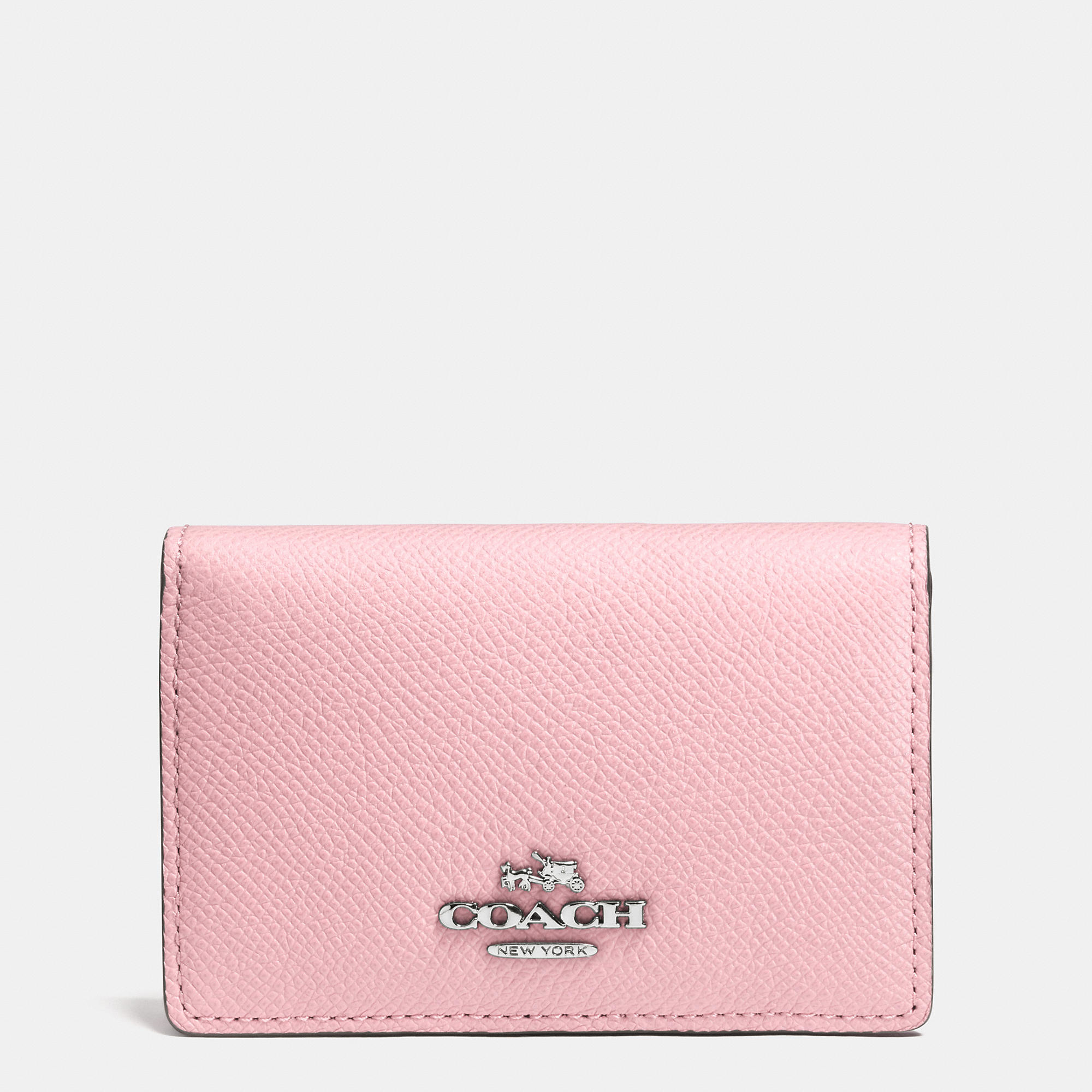 Lyst coach business card case in crossgrain leather in pink gallery colourmoves