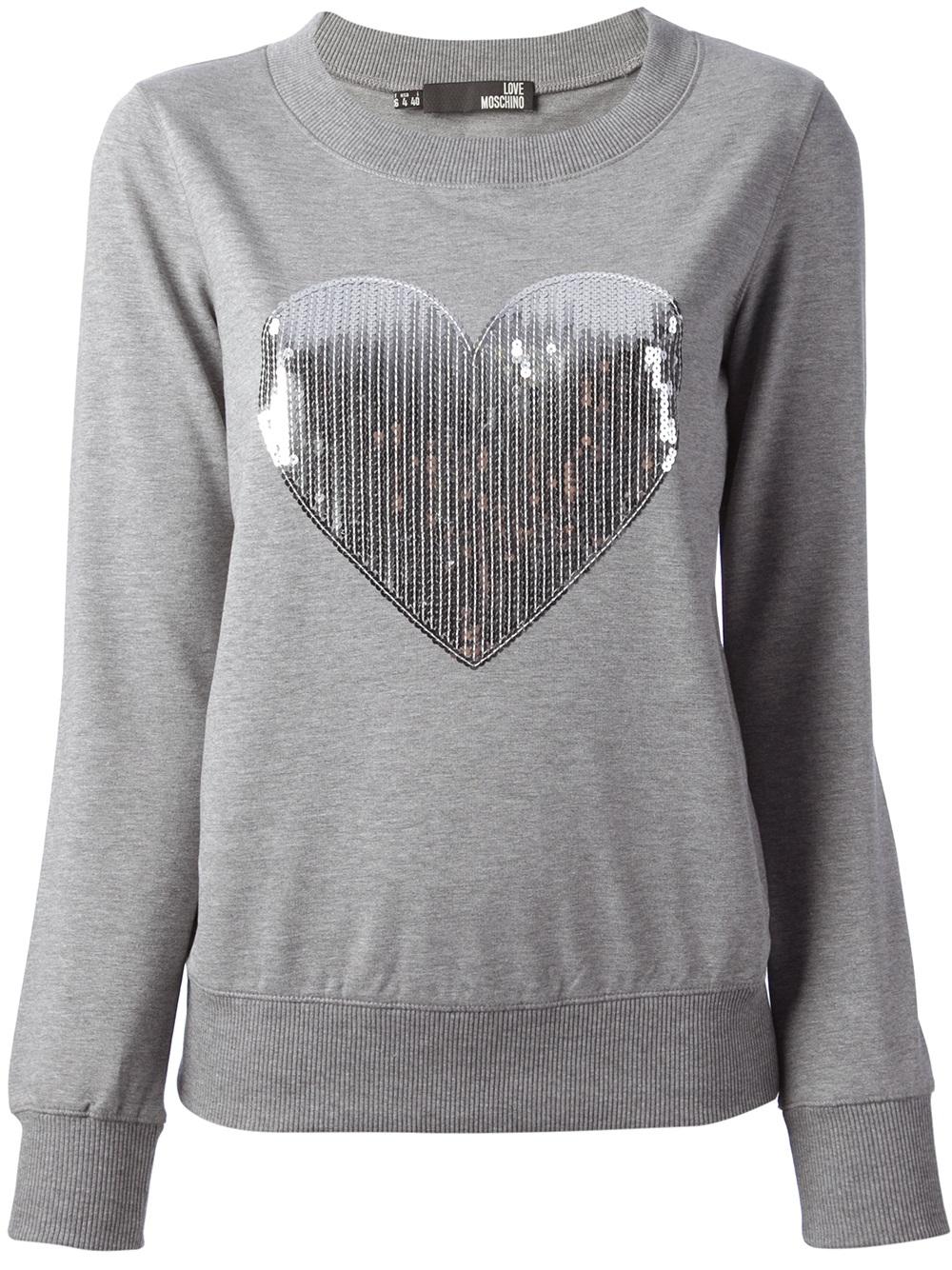Lyst - Love Moschino Sequin Heart Sweatshirt in Gray