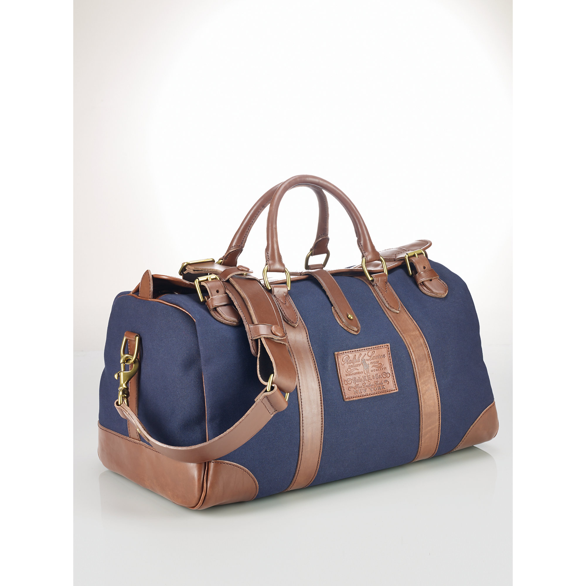 bf7542cfe7 Lyst - Polo Ralph Lauren Leather-trim Canvas Gym Bag in Blue for Men