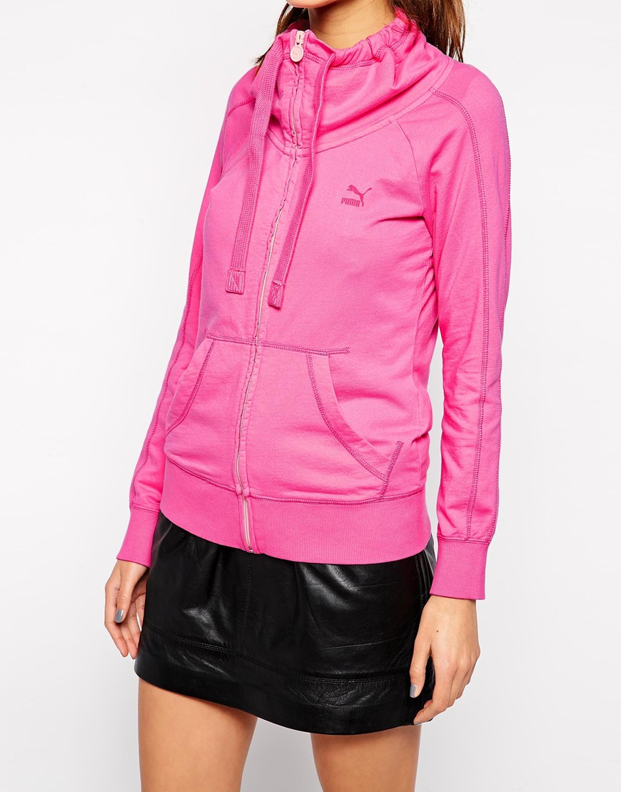 Puma Zip Up Jacket in Pink | Lyst