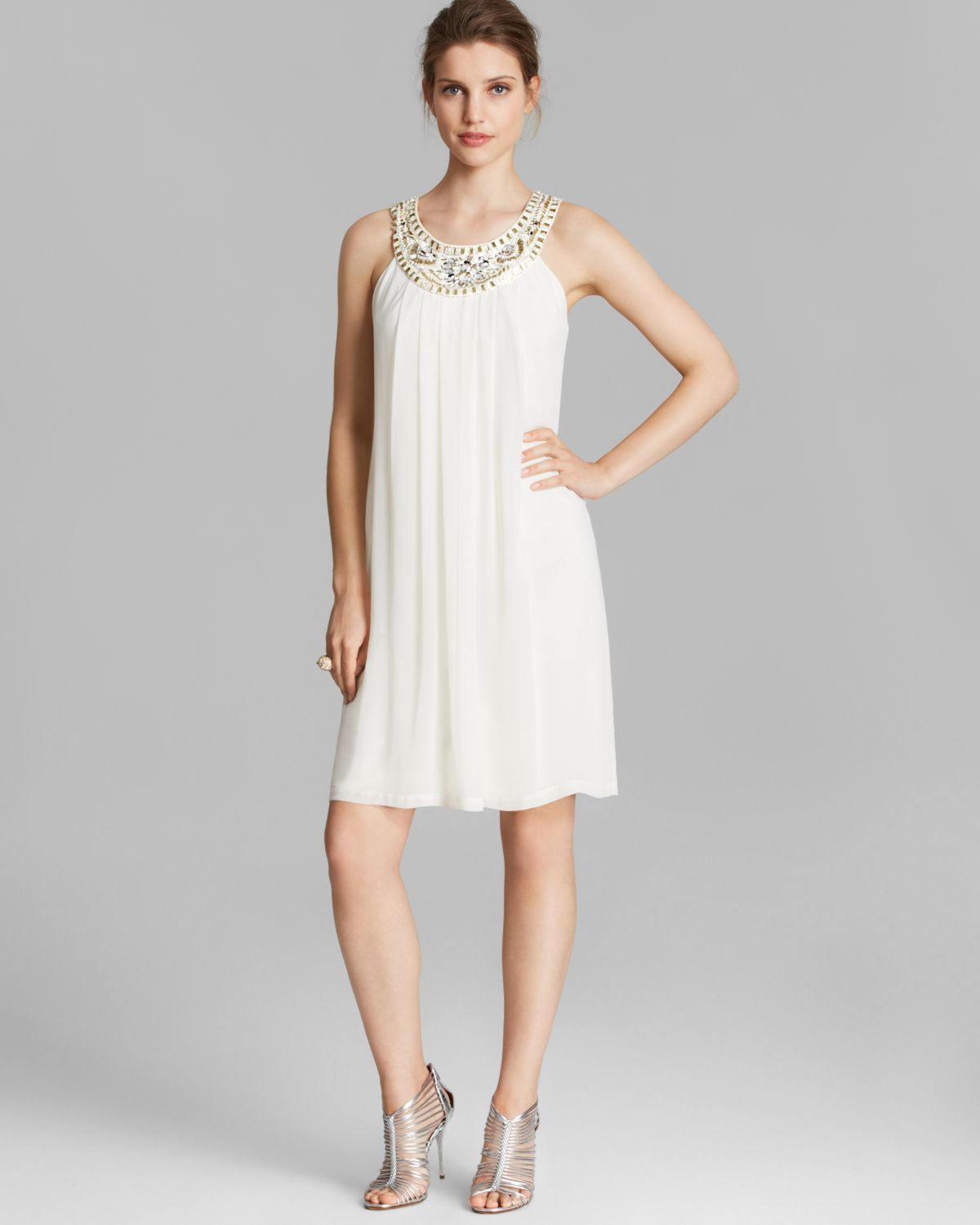 Sleeveless A-Line Shift In White (Ivory