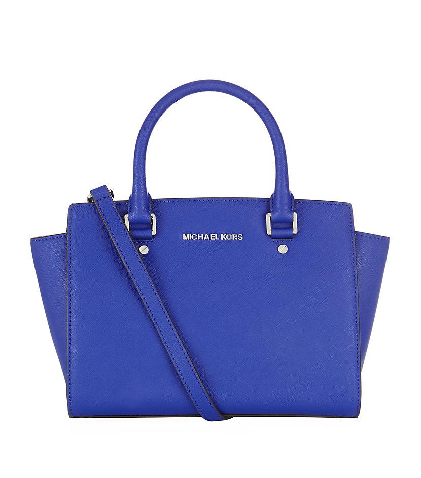 michael michael kors medium selma satchel in blue lyst. Black Bedroom Furniture Sets. Home Design Ideas