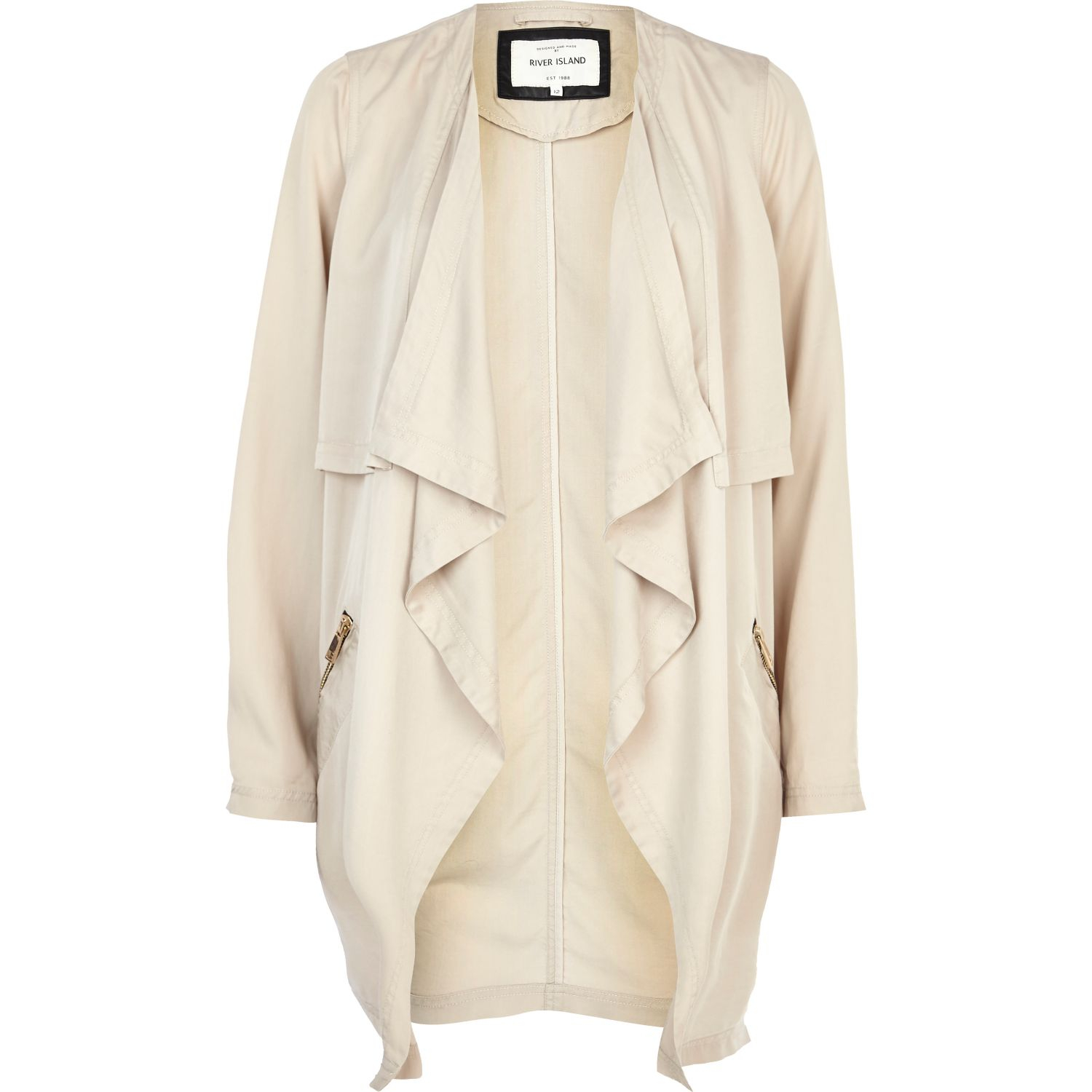 River island Cream Lightweight Waterfall Jacket in Natural | Lyst