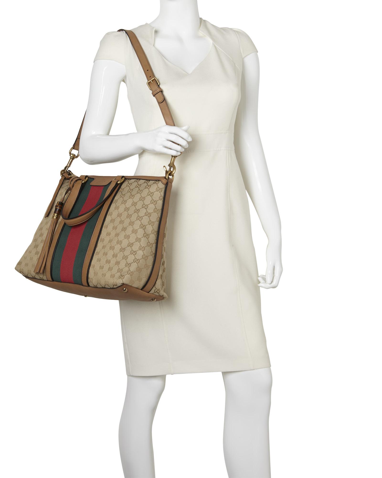 look handbags - Gucci Sand \u0026amp; Khaki Raina Gg Canvas Tote in Multicolor   Lyst
