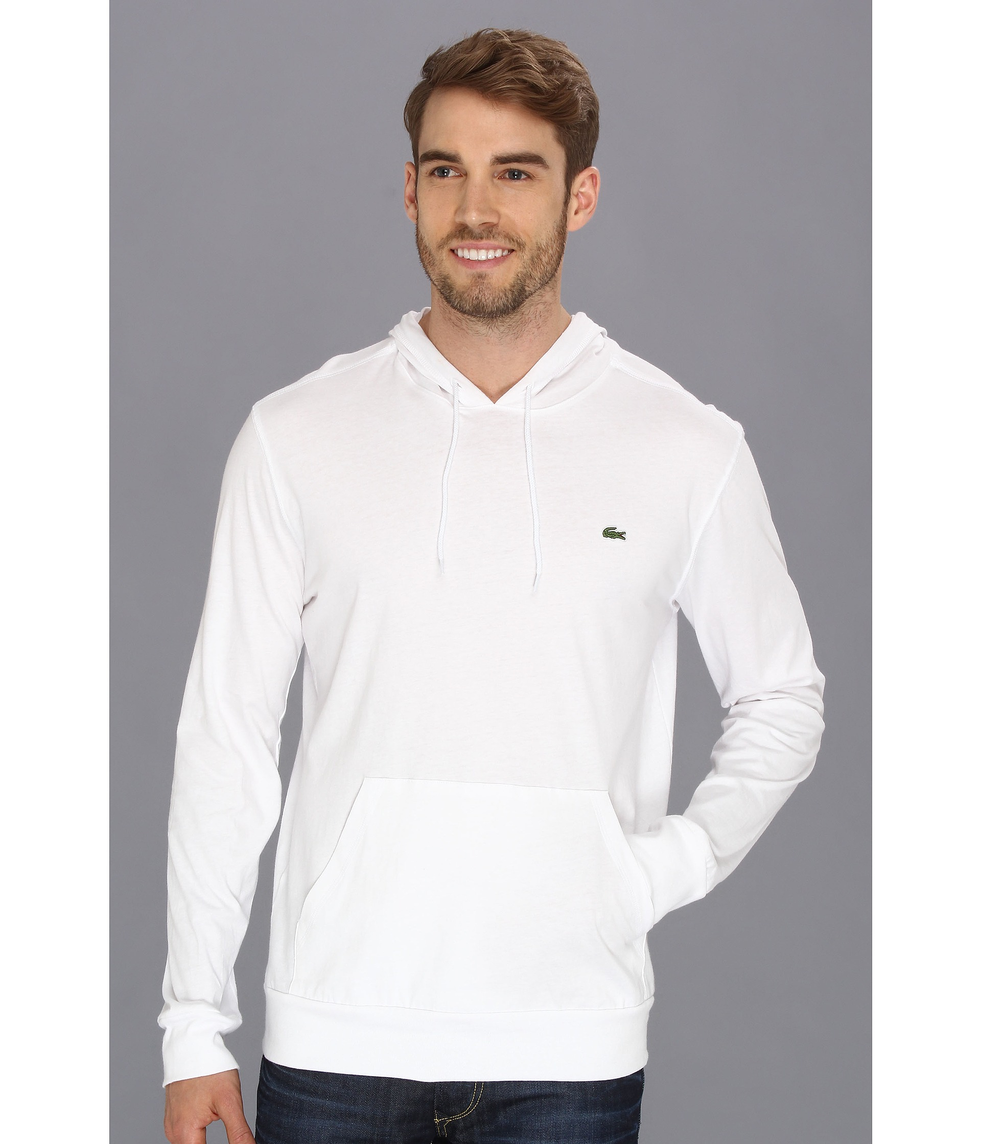 lacoste jersey tshirt hoodie in white for men lyst