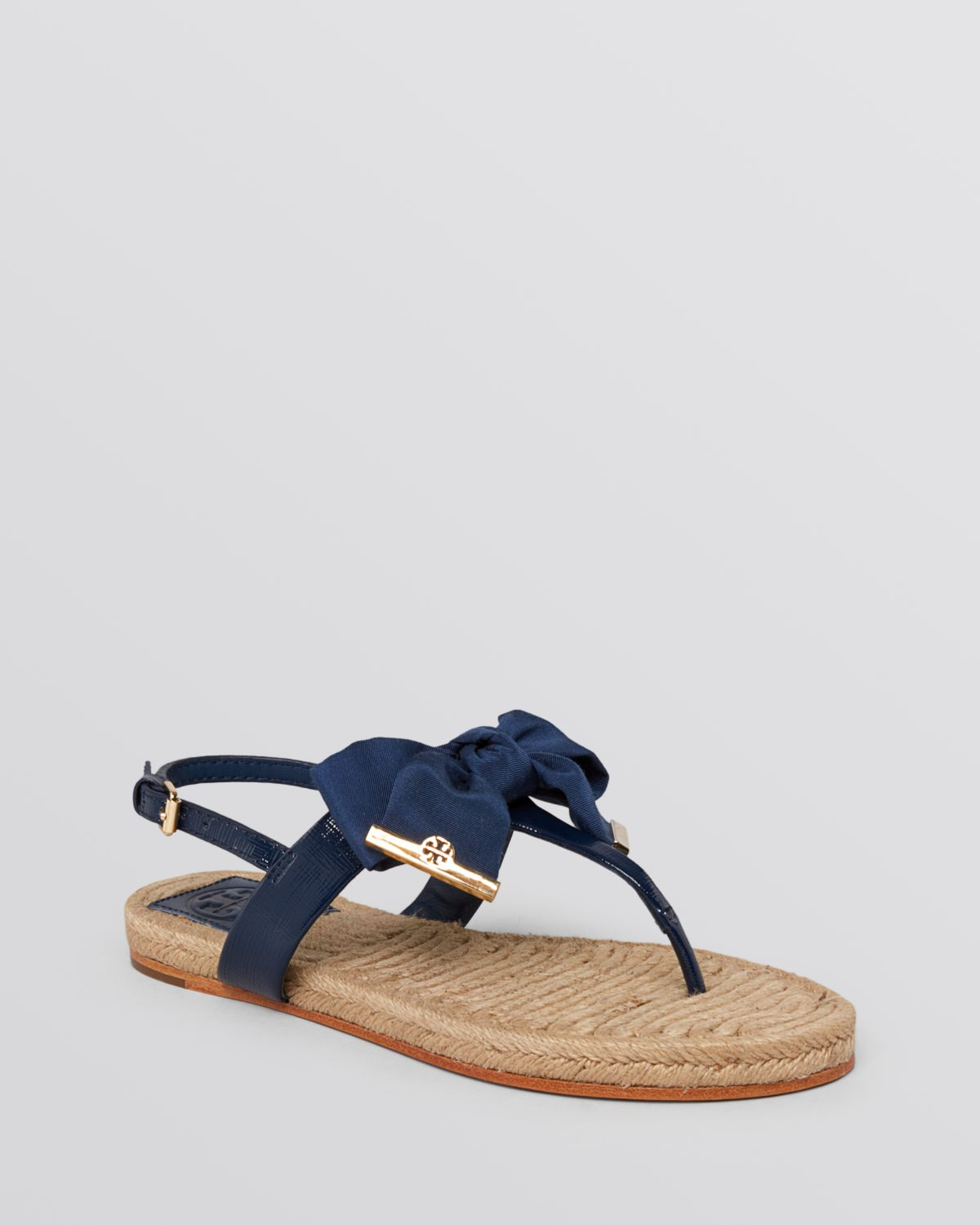 fb0148bed06c Lyst - Tory Burch Flat Thong Sandals Penny Bow in Blue