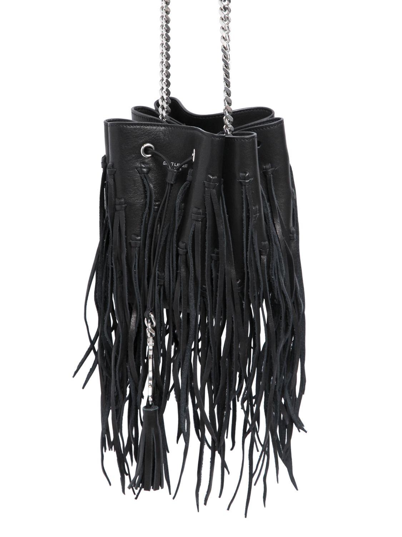 pink price tags - saint laurent ysl tri-pocket bag in black leather