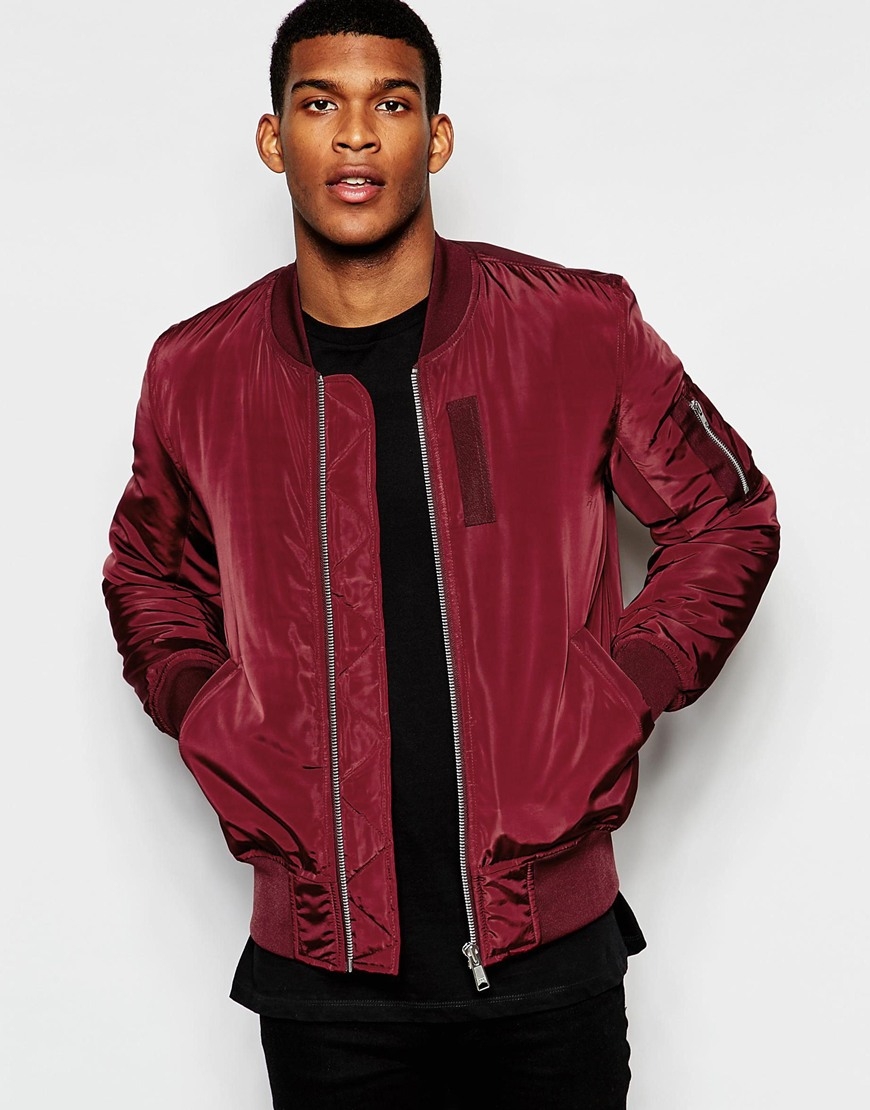 Asos Bomber Jacket With Ma1 Pocket In Burgundy In Purple