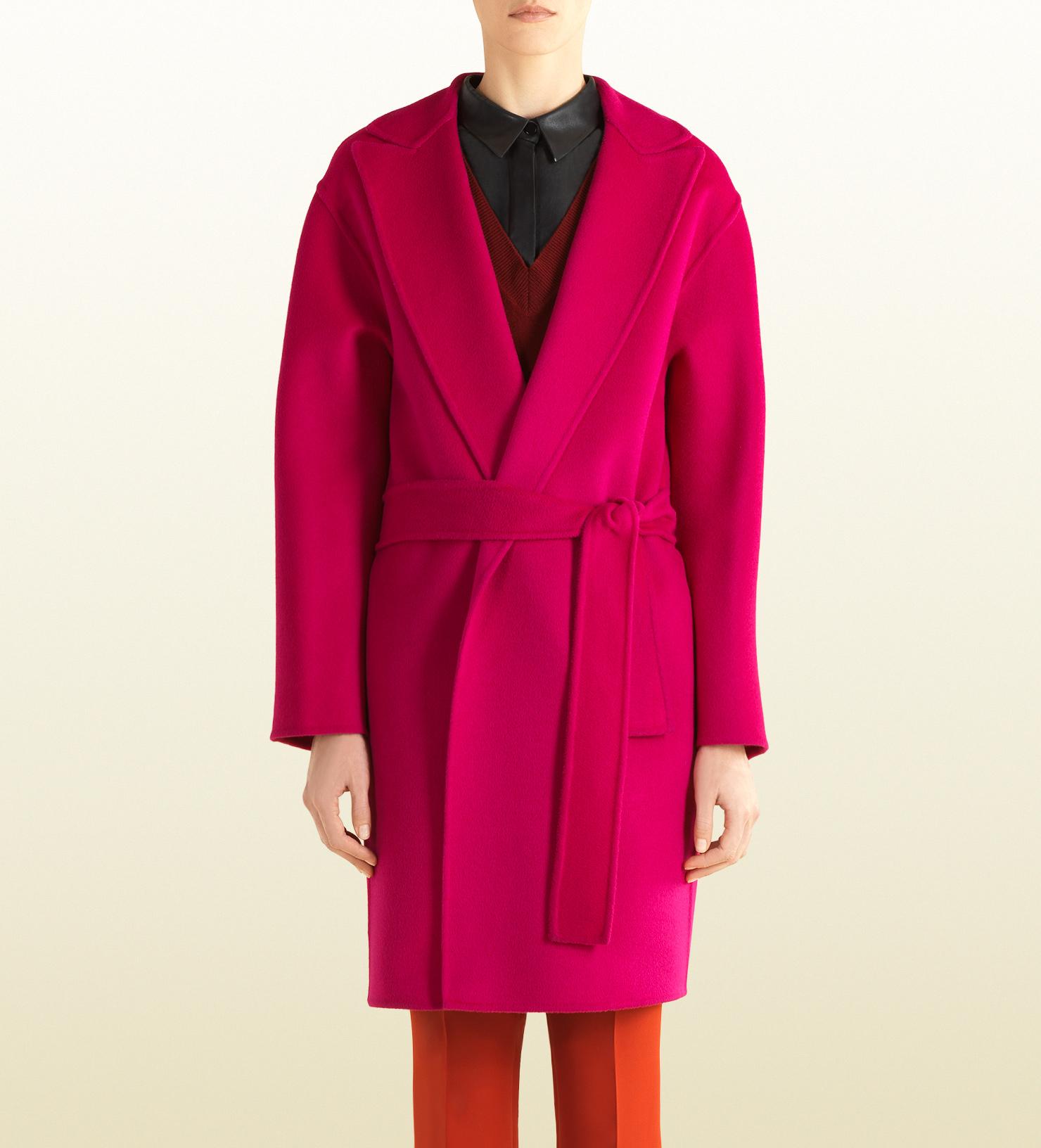 Lyst Gucci Fuchsia Wool Wrap Coat In Pink