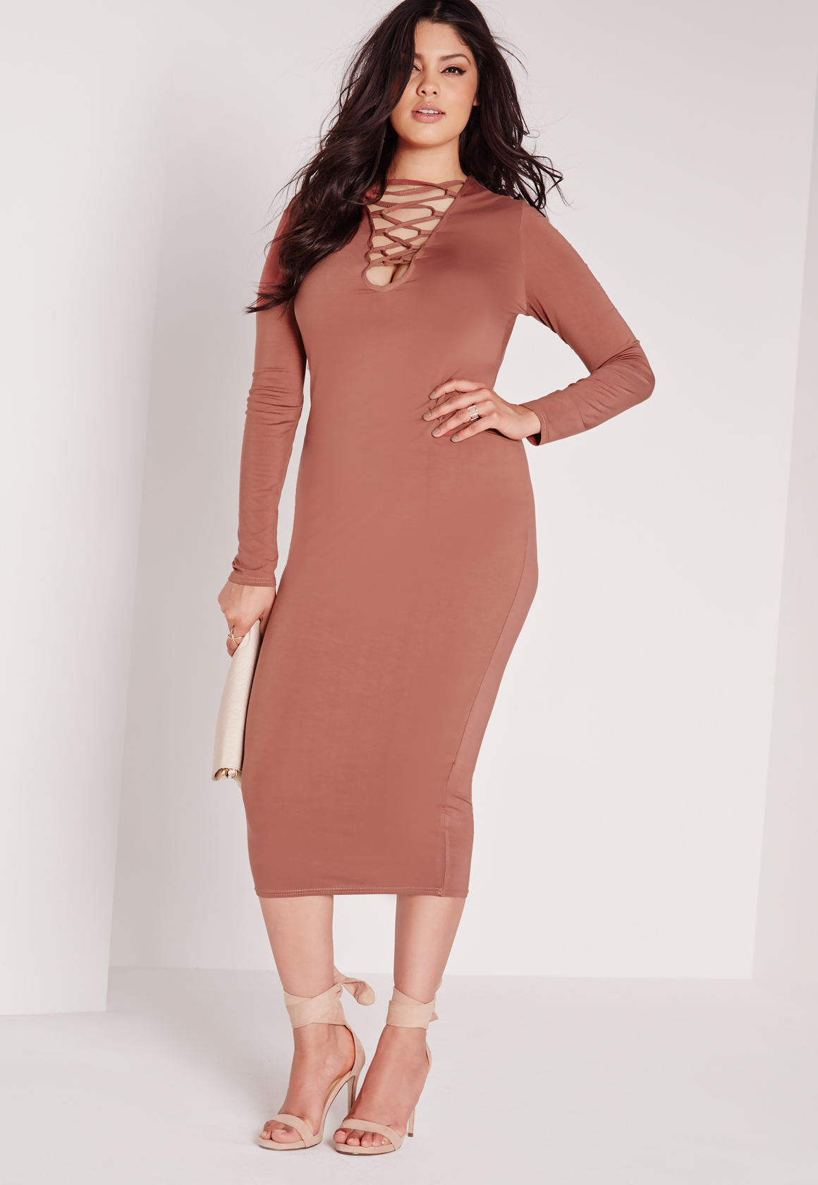 Missguided Plus Size Lace Up Dress Tan in Brown | Lyst