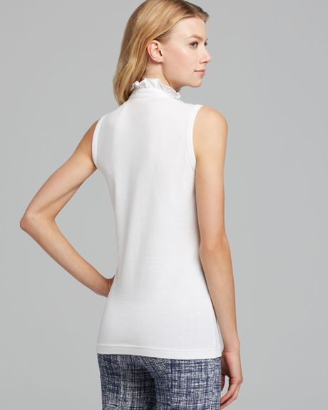 Tory Burch Sleeveless Lidia Polo Shirt In White Lyst