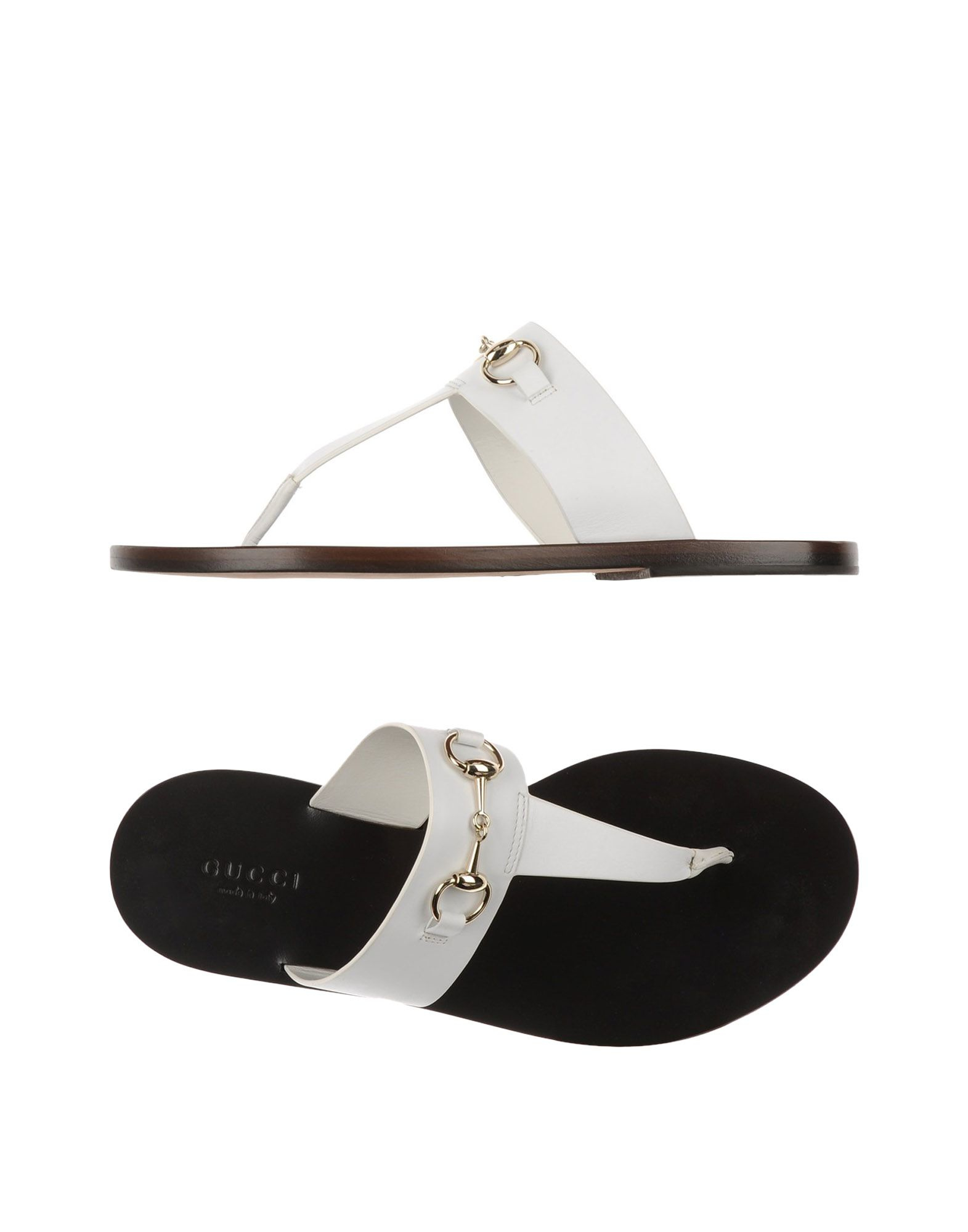 c2b5acfbf Lyst - Gucci Leather Thong Sandals in White