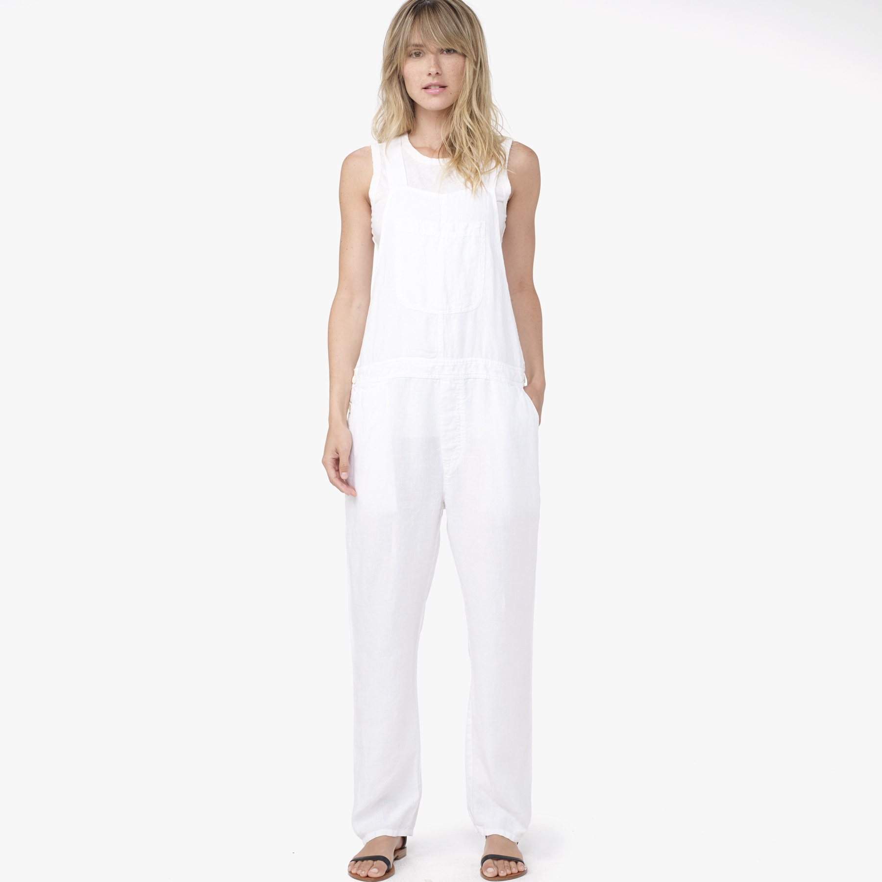 f73aa4b49a39 Lyst - James Perse Linen Overalls in White