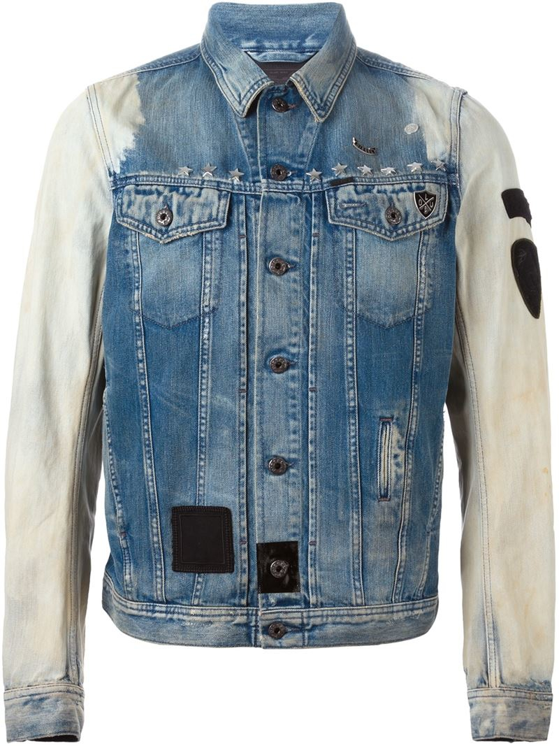 Lyst Diesel Dyed Sleeve Denim Jacket In Blue For Men