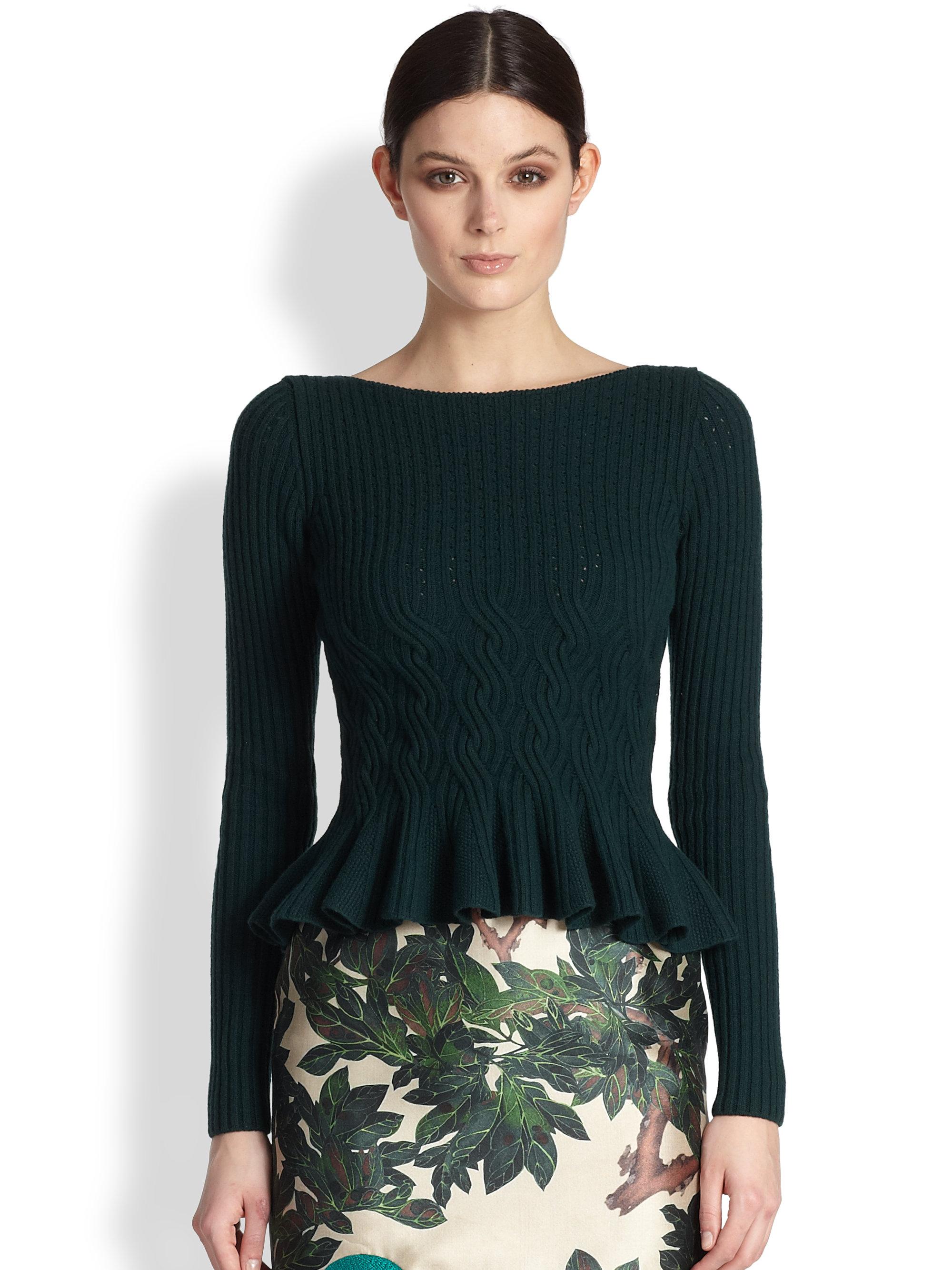 Oscar de la renta Merino Wool & Cashmere Cable-Knit Sweater in ...