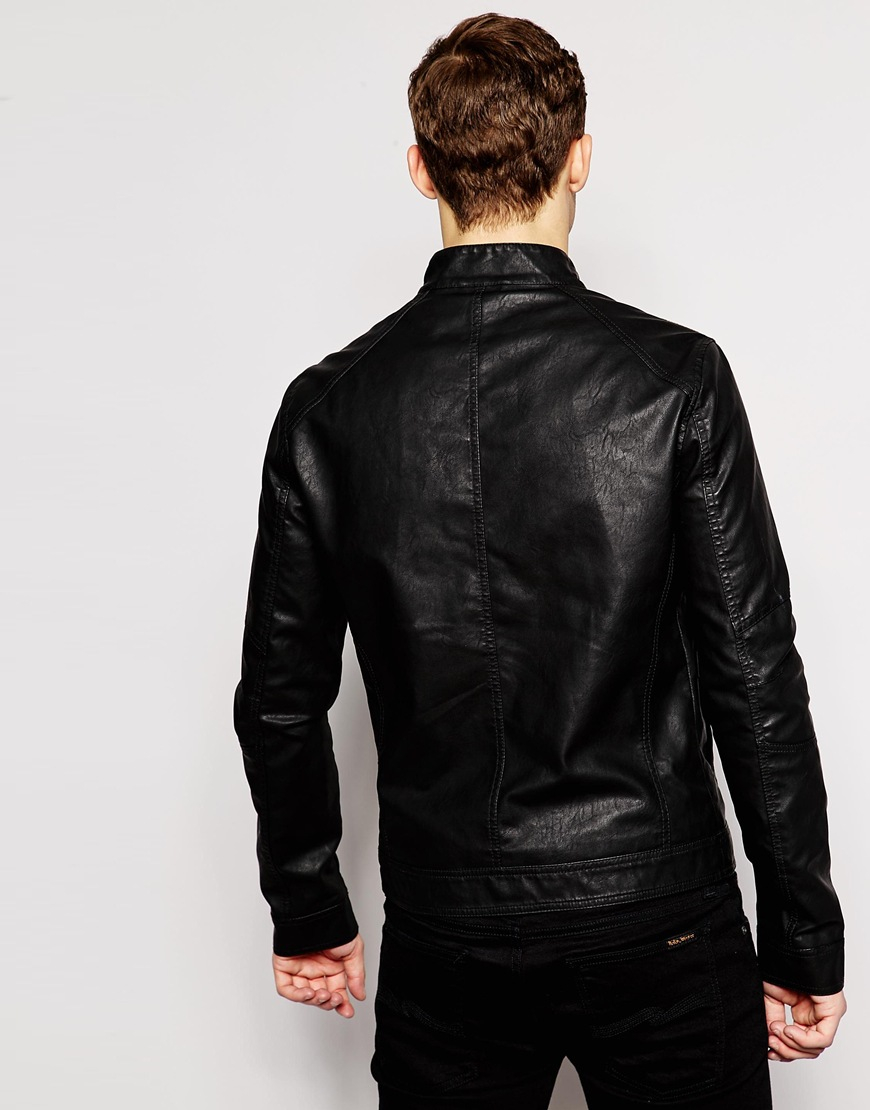 jack jones faux leather jacket in black for men lyst. Black Bedroom Furniture Sets. Home Design Ideas