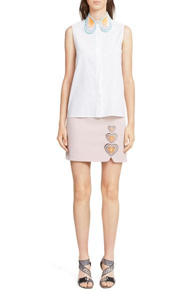 Lyst christopher kane heart collar sleeveless cotton for Sleeveless white shirt with collar