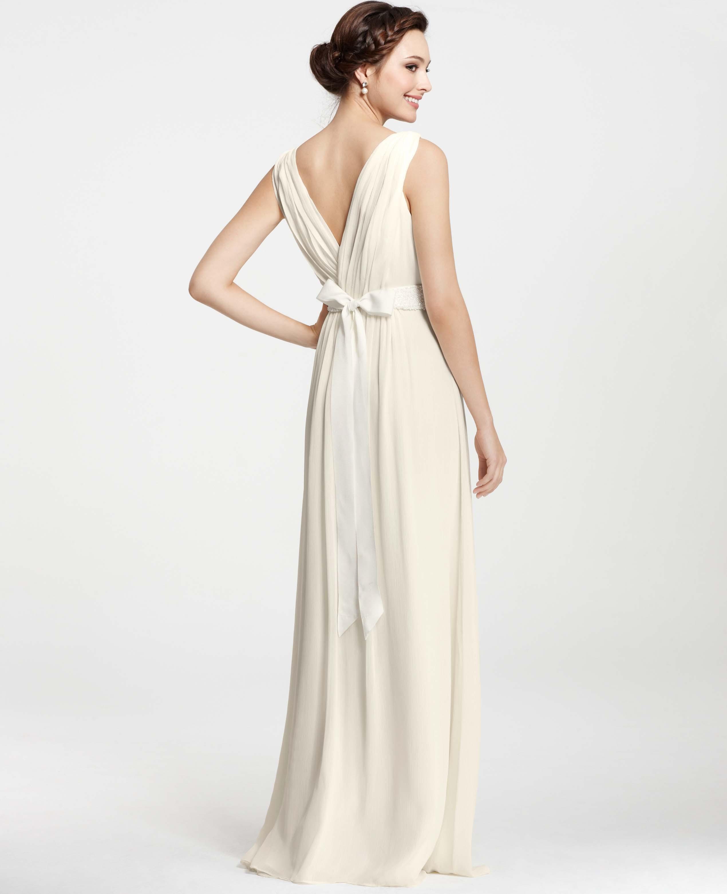 Goddess Wedding Dresses: Ann Taylor Goddess V-Neck Wedding Dress In White