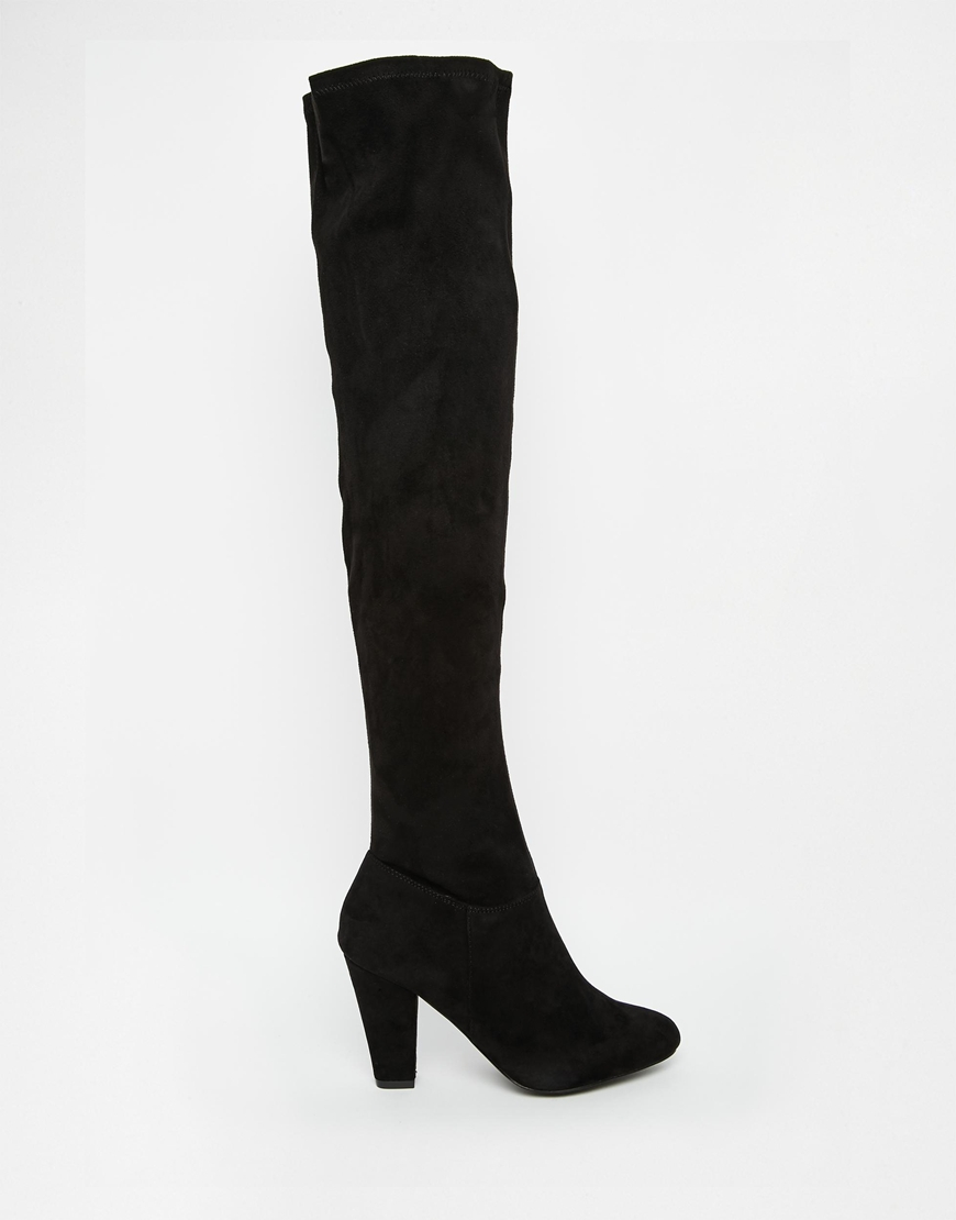 44cc9a8ec69 Lyst - Call It Spring Conwill Black Stretch Heeled Over The Knee ...
