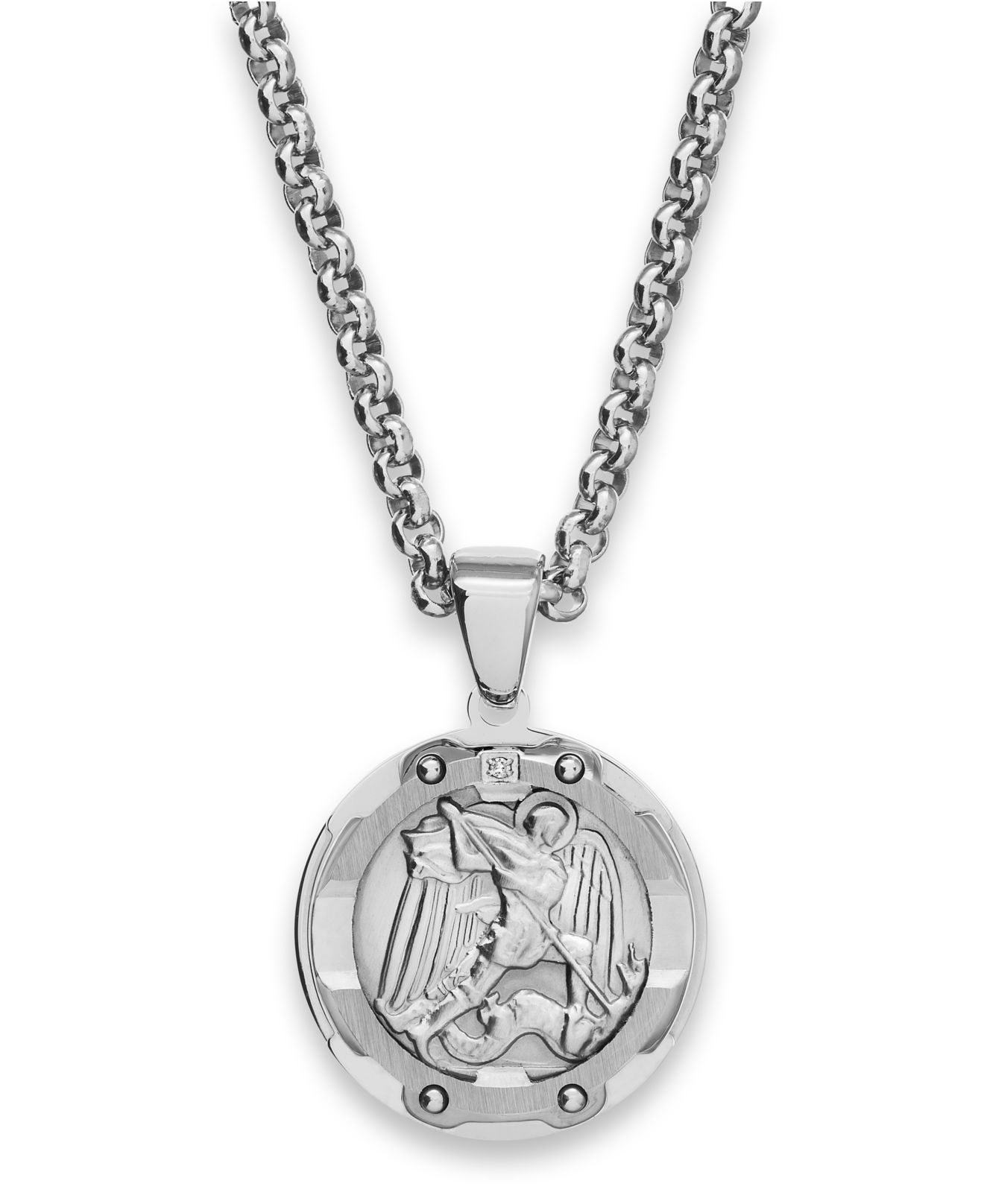 Macy 39 s men 39 s st christopher diamond pendant necklace in for Michaels crafts jewelry supplies