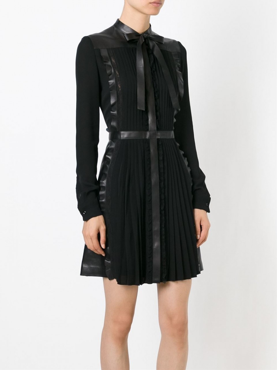 Lyst Valentino Tie Neck Leather And Lace Dress In Black