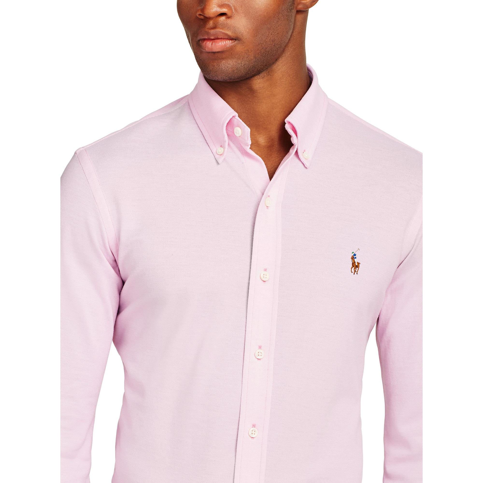 3d820eae Polo Ralph Lauren Knit Oxford Shirt in Pink for Men - Lyst