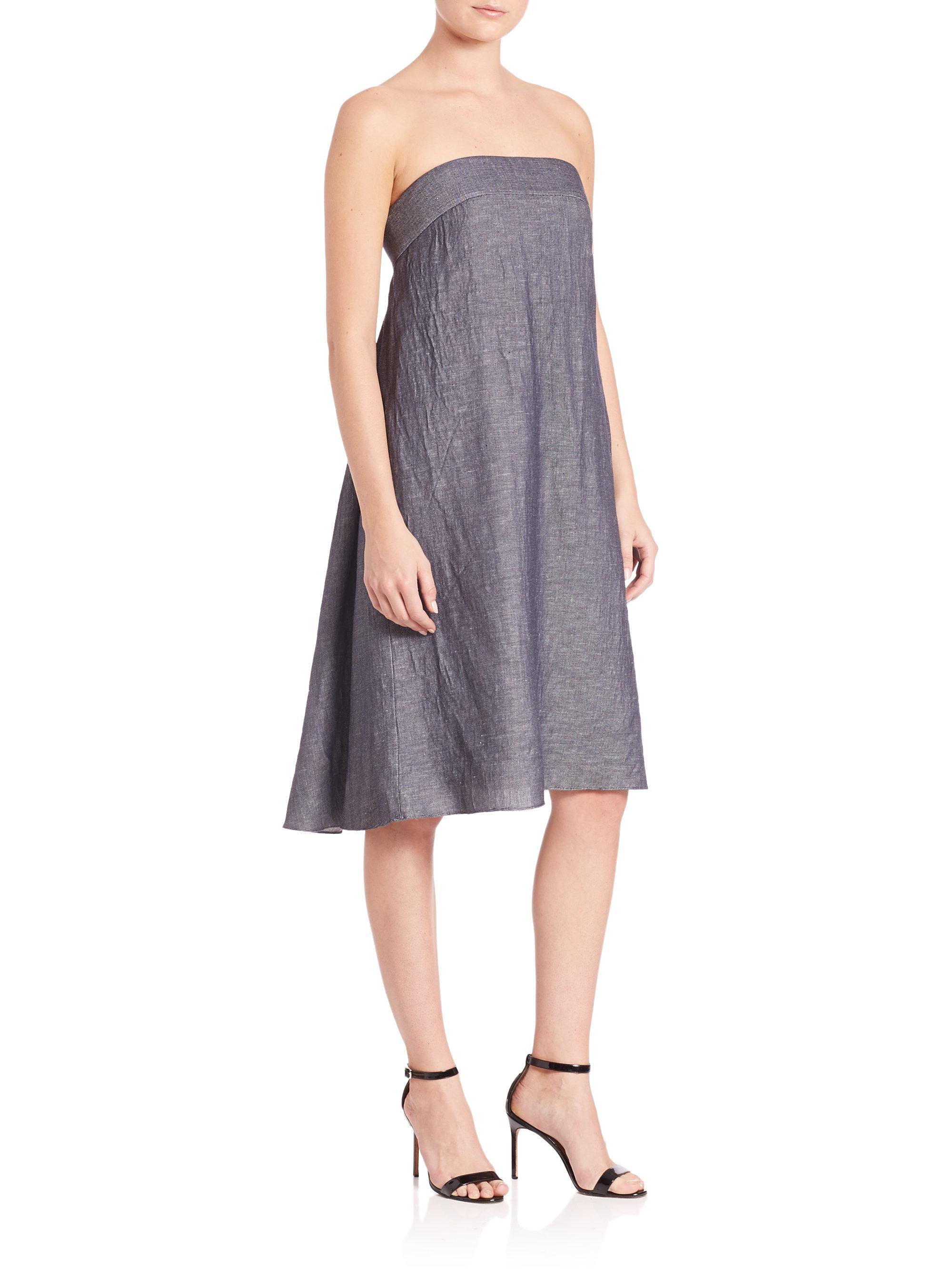 Milly Vanessa Strapless Denim Dress in Blue  Lyst