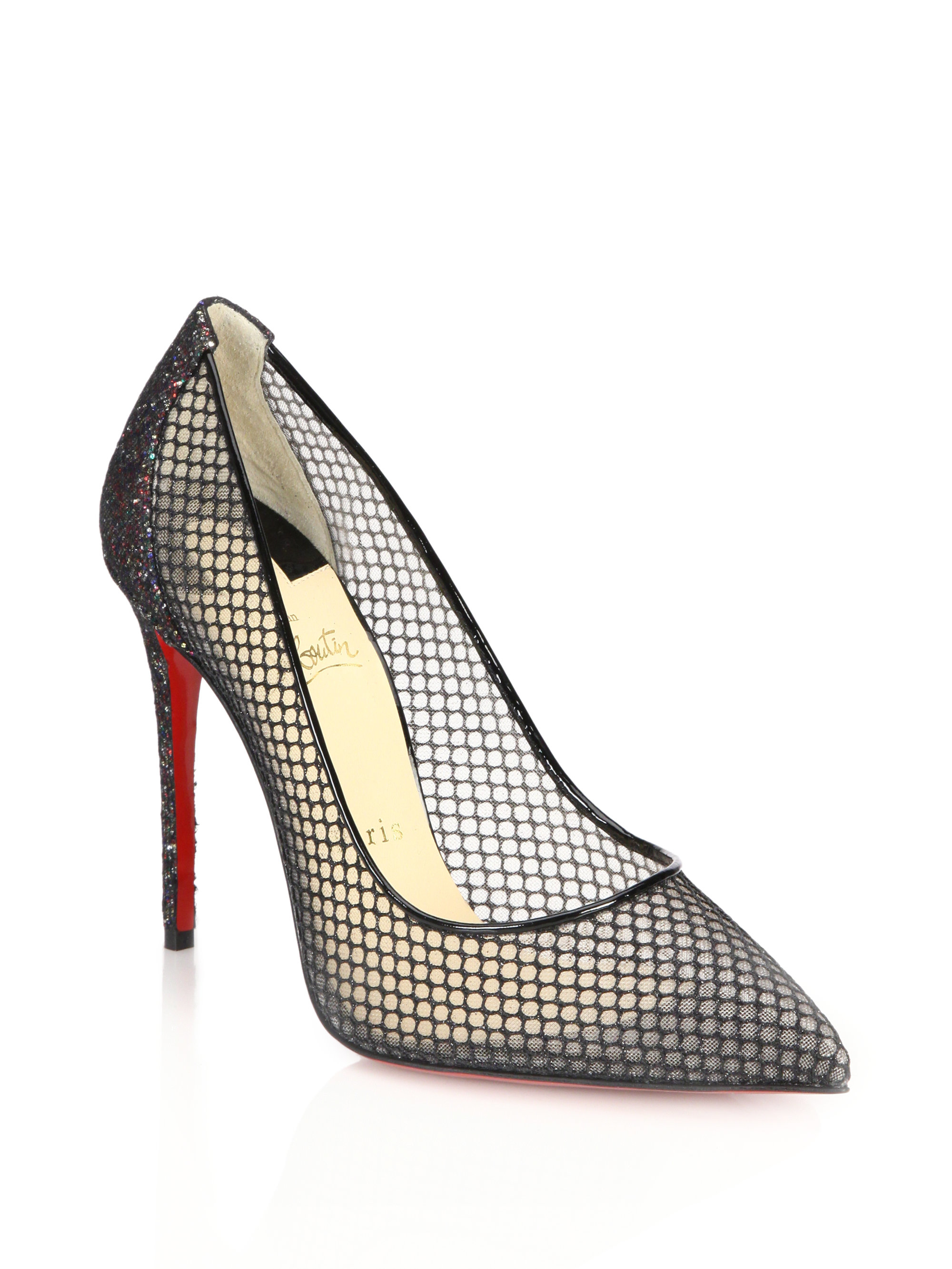 13999cd38191 Lyst - Christian Louboutin Glitter Mesh and Leather Pumps in Black