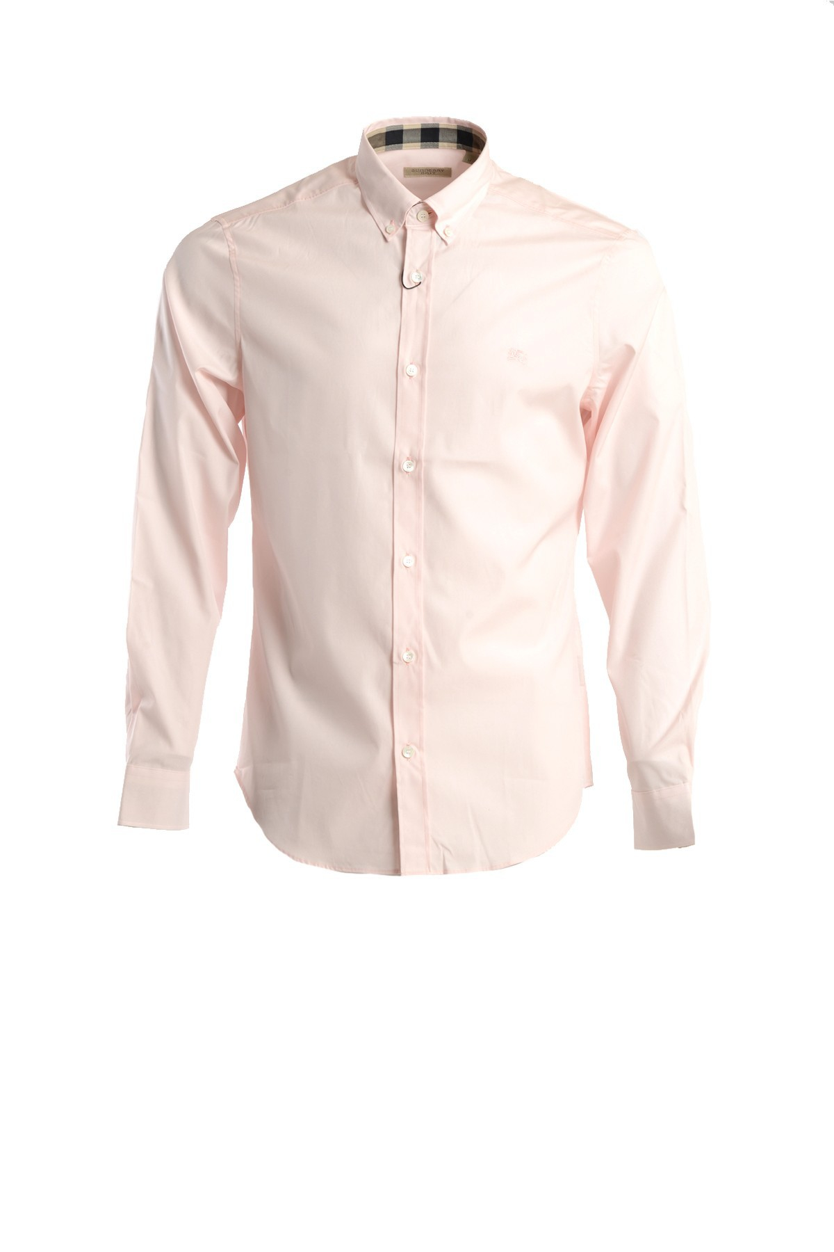 Burberry stretch cotton button down shirt in pink for men for Cotton button down shirts men