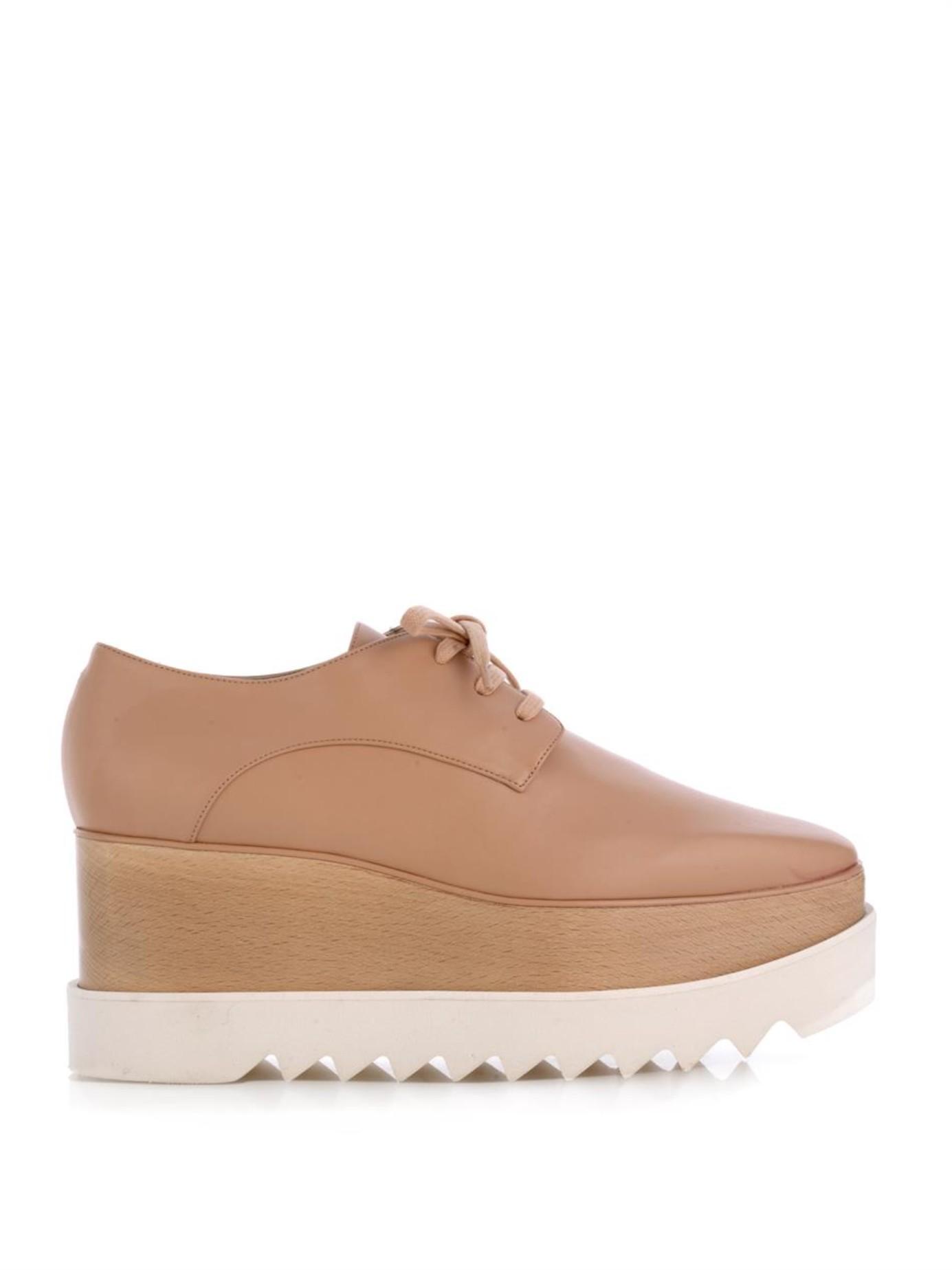 Stella mccartney Britt Lace-Up Platform Shoes in Natural ...