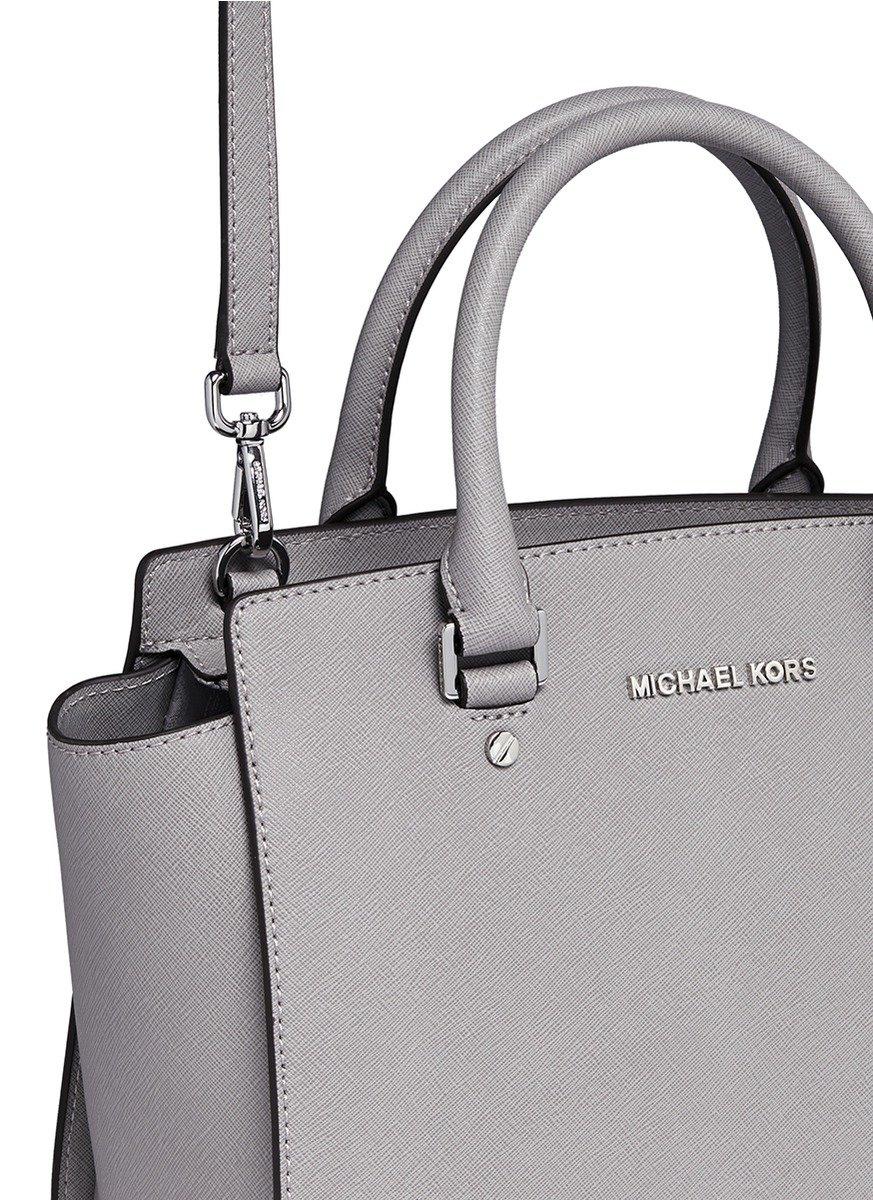 ... new style lyst michael kors selma medium saffiano leather satchel in  gray 8f413 d8a86 5bfc3fcfb3d8b