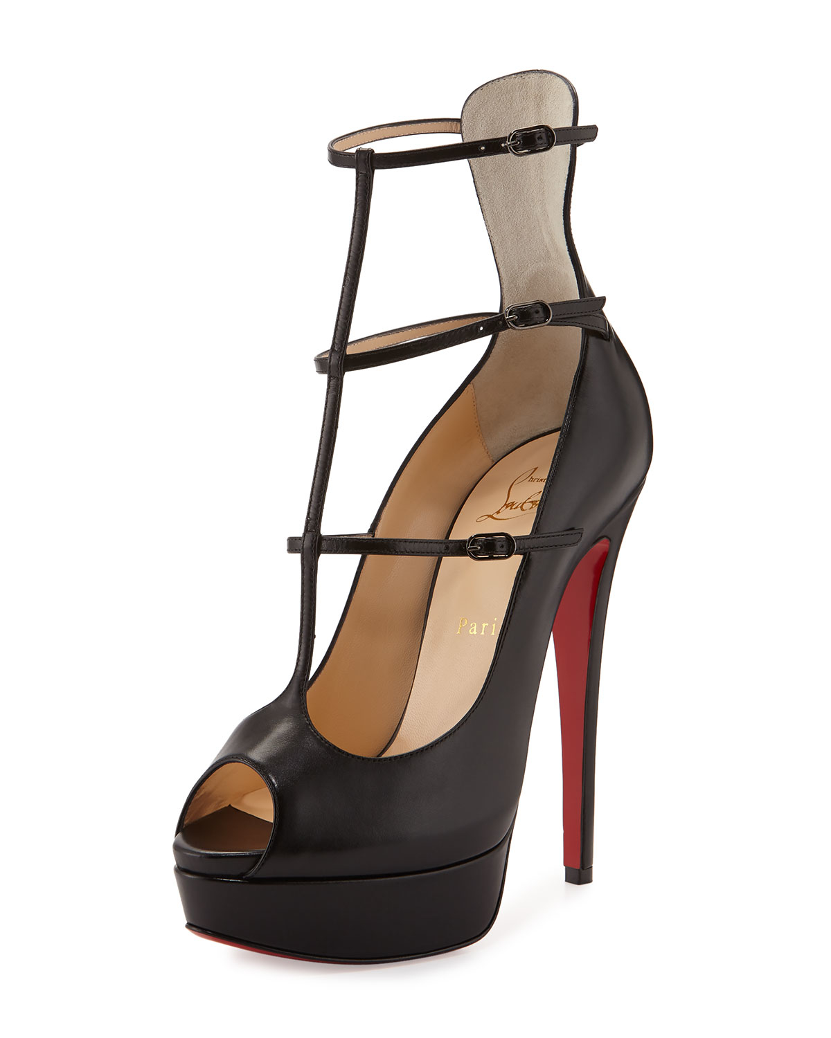 christian louboutin sneakers men - Christian louboutin Sistoerless Caged Leather Pumps in Black (BLK ...