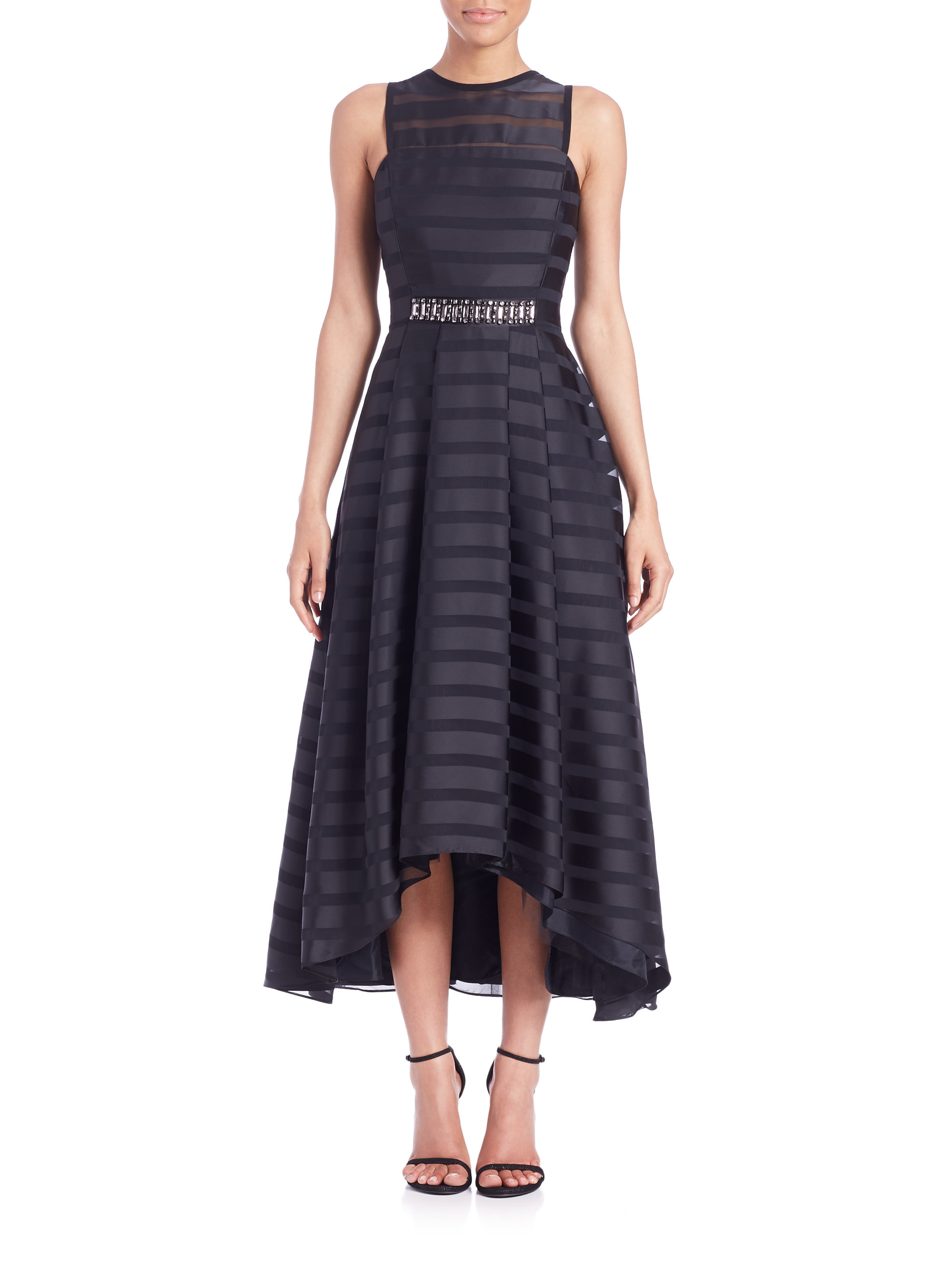 Lyst Shoshanna Coraline Sheer Stripe Hi Lo Dress In Black
