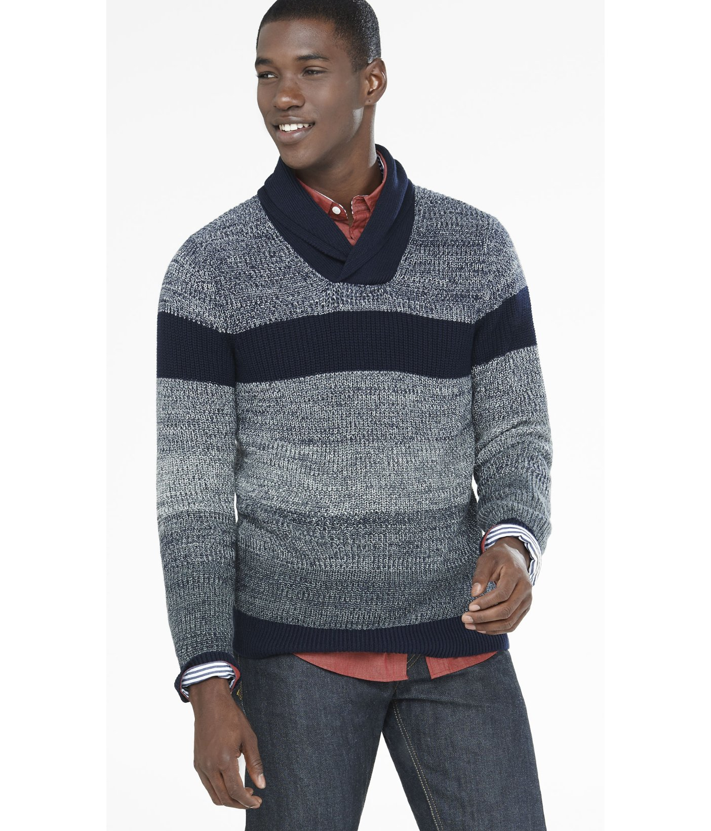 Express Marled Shawl Collar Sweater in Blue for Men | Lyst