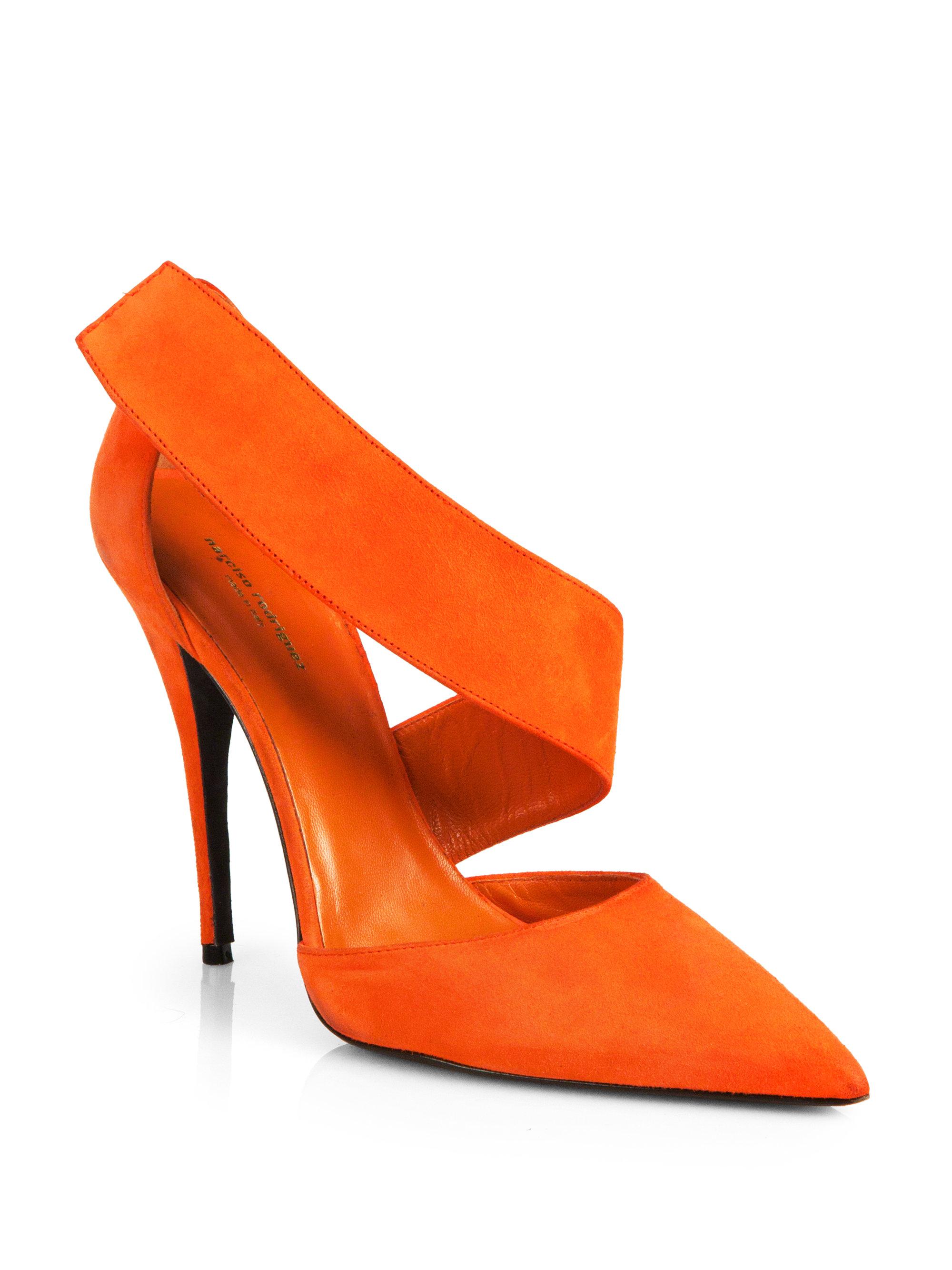 Lyst Narciso Rodriguez Camilla Suede Pumps In Orange