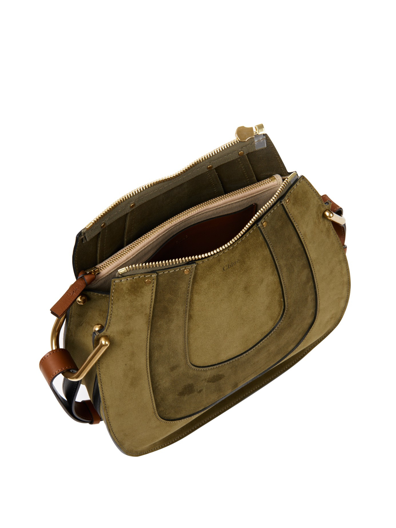 562892e3e7 Chlo   Hayley Hobo Suede Shoulder Bag in Green (KHAKI)