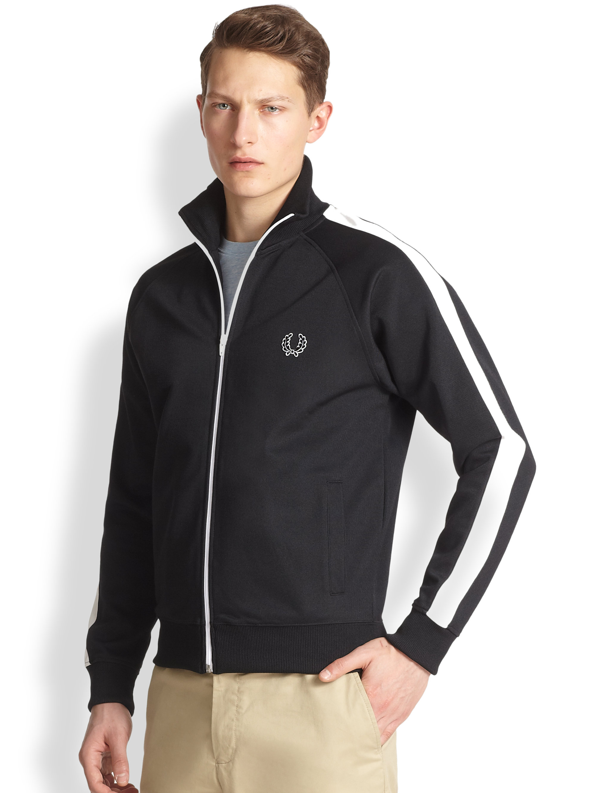 fred perry classic track jacket in black for men lyst. Black Bedroom Furniture Sets. Home Design Ideas