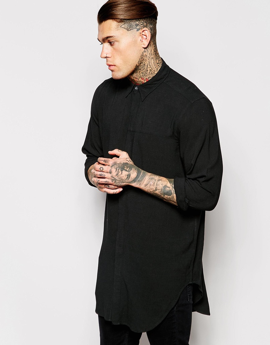 Asos super longline shirt in rayon with mini button down for Mens black button down shirt