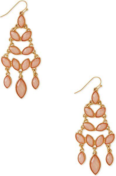 Forever 21 faux stone chandelier drop earrings in gold for Forever 21 jewelry earrings