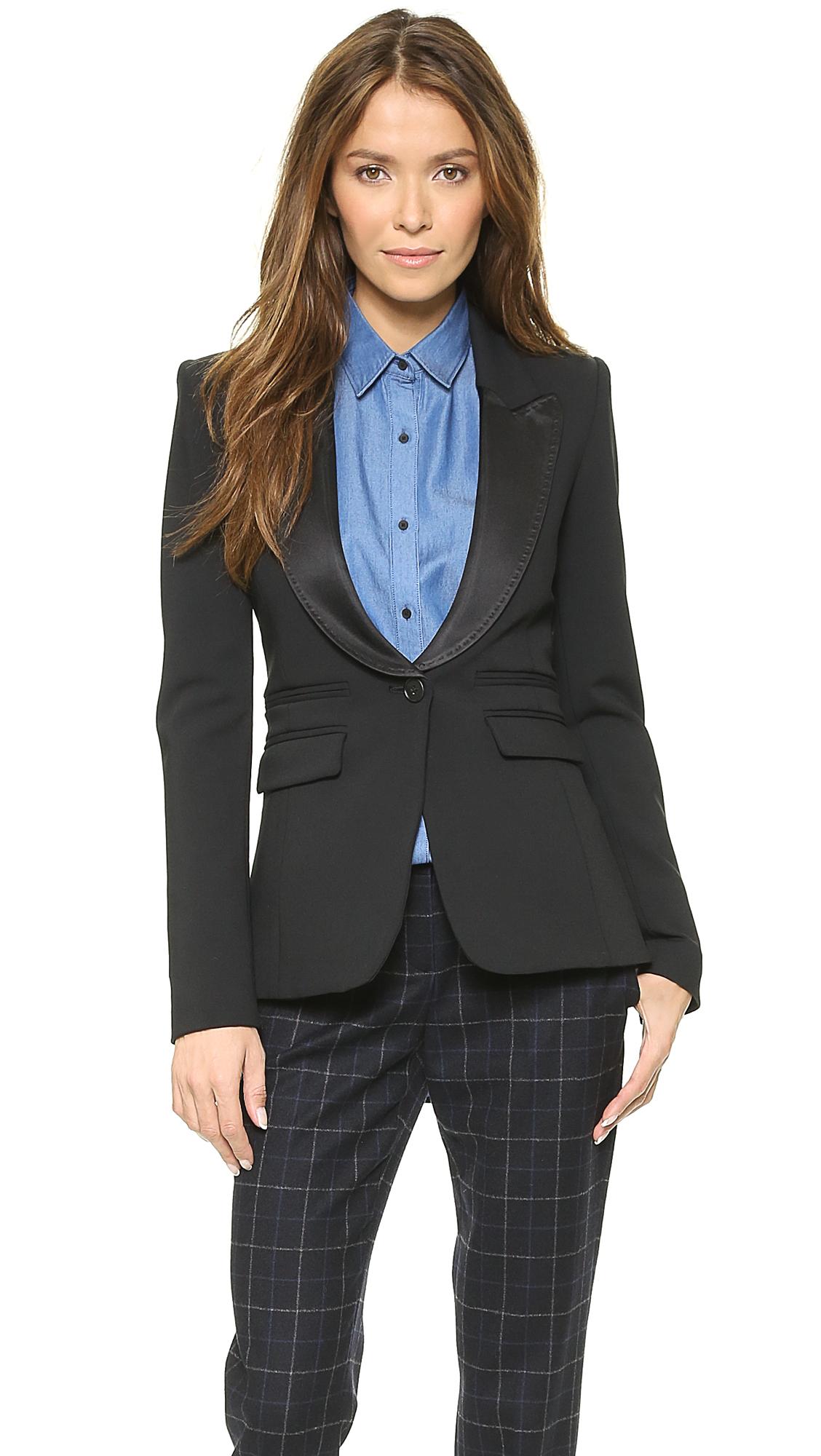 Lyst smythe peaked lapel tuxedo blazer black in black for Smythe mercedes benz