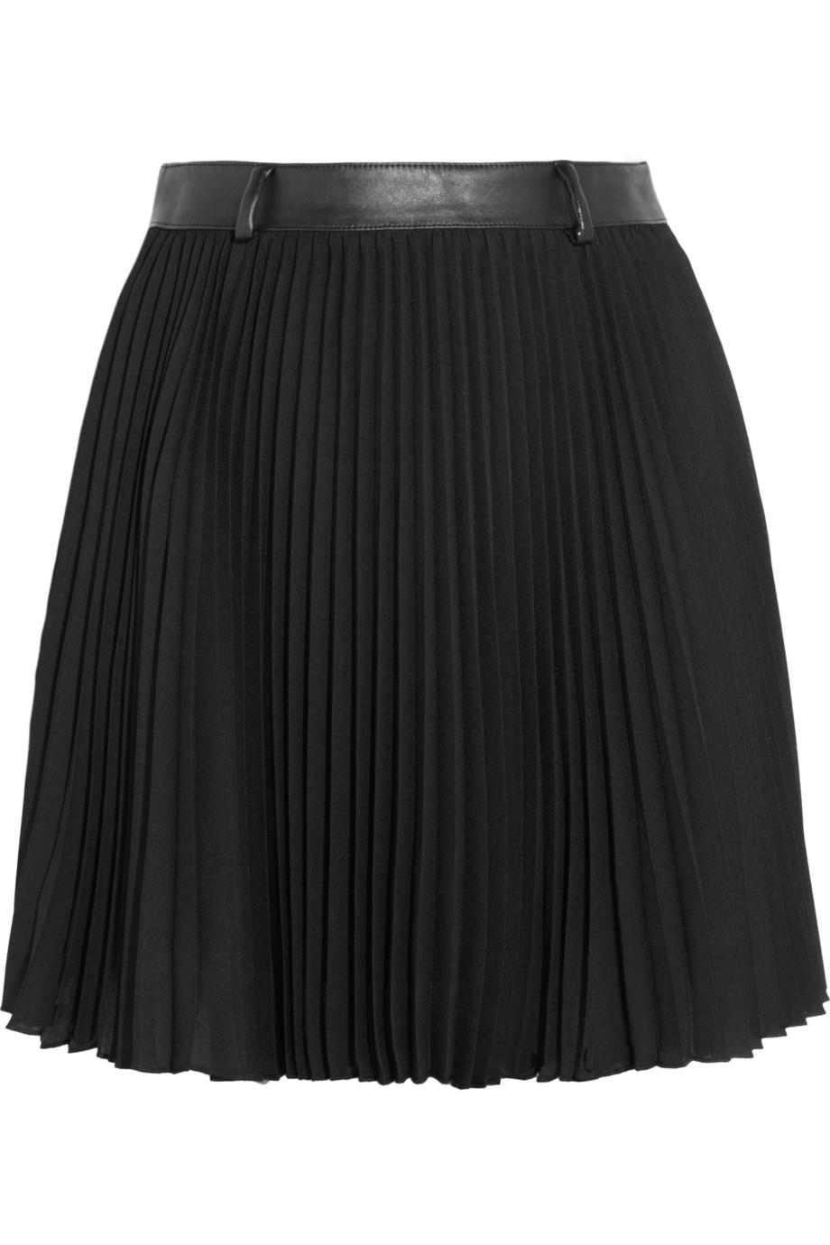 karl lagerfeld bracha pleated crepe mini skirt in black lyst