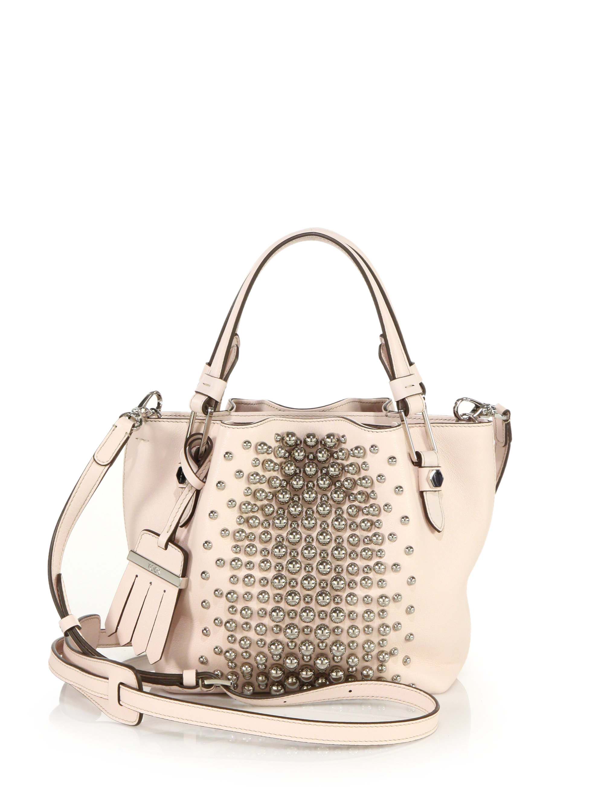 19c5a13f3552e Tod's Flower Micro Studded Leather Tote in Pink - Lyst