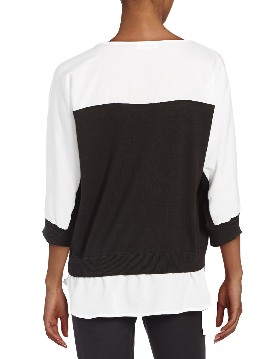 calvin klein layered effect colorblock sweater in black lyst. Black Bedroom Furniture Sets. Home Design Ideas