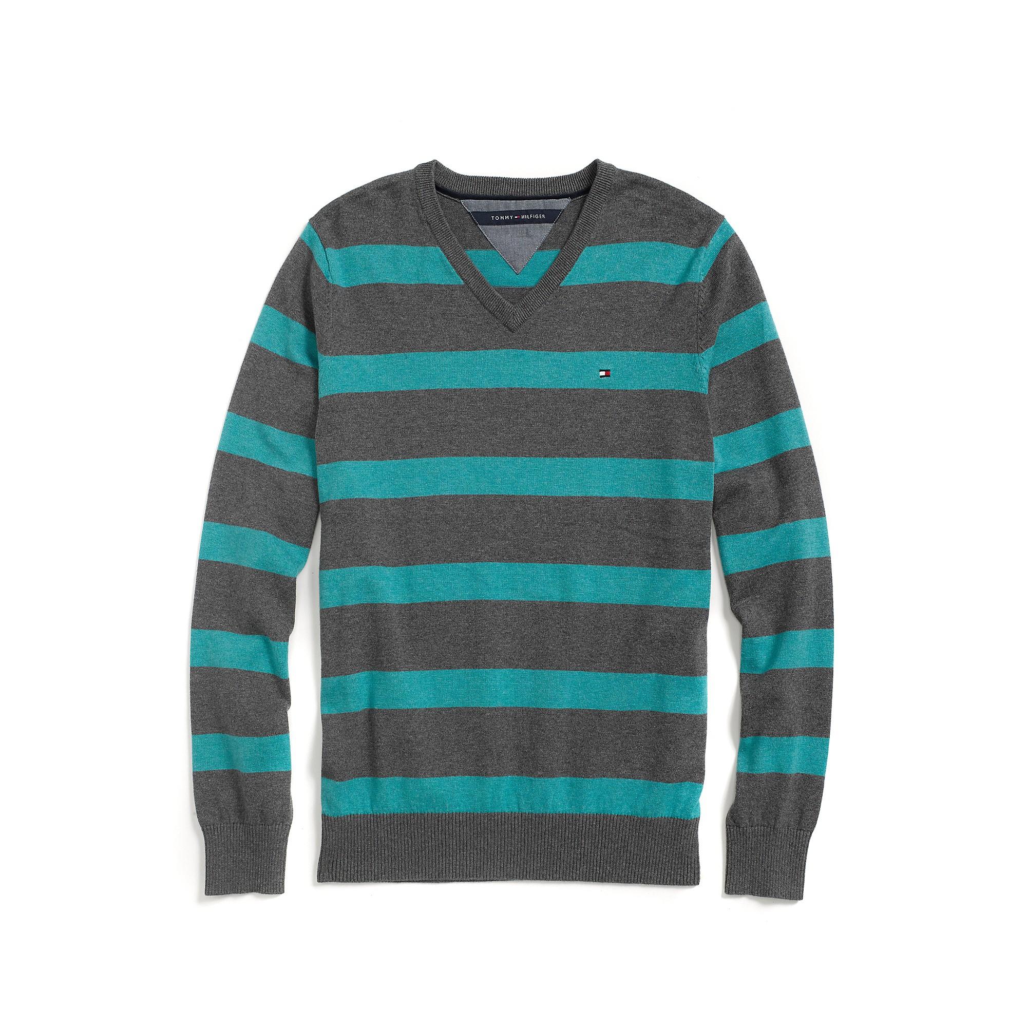 tommy hilfiger stripe v neck sweater in gray for men. Black Bedroom Furniture Sets. Home Design Ideas