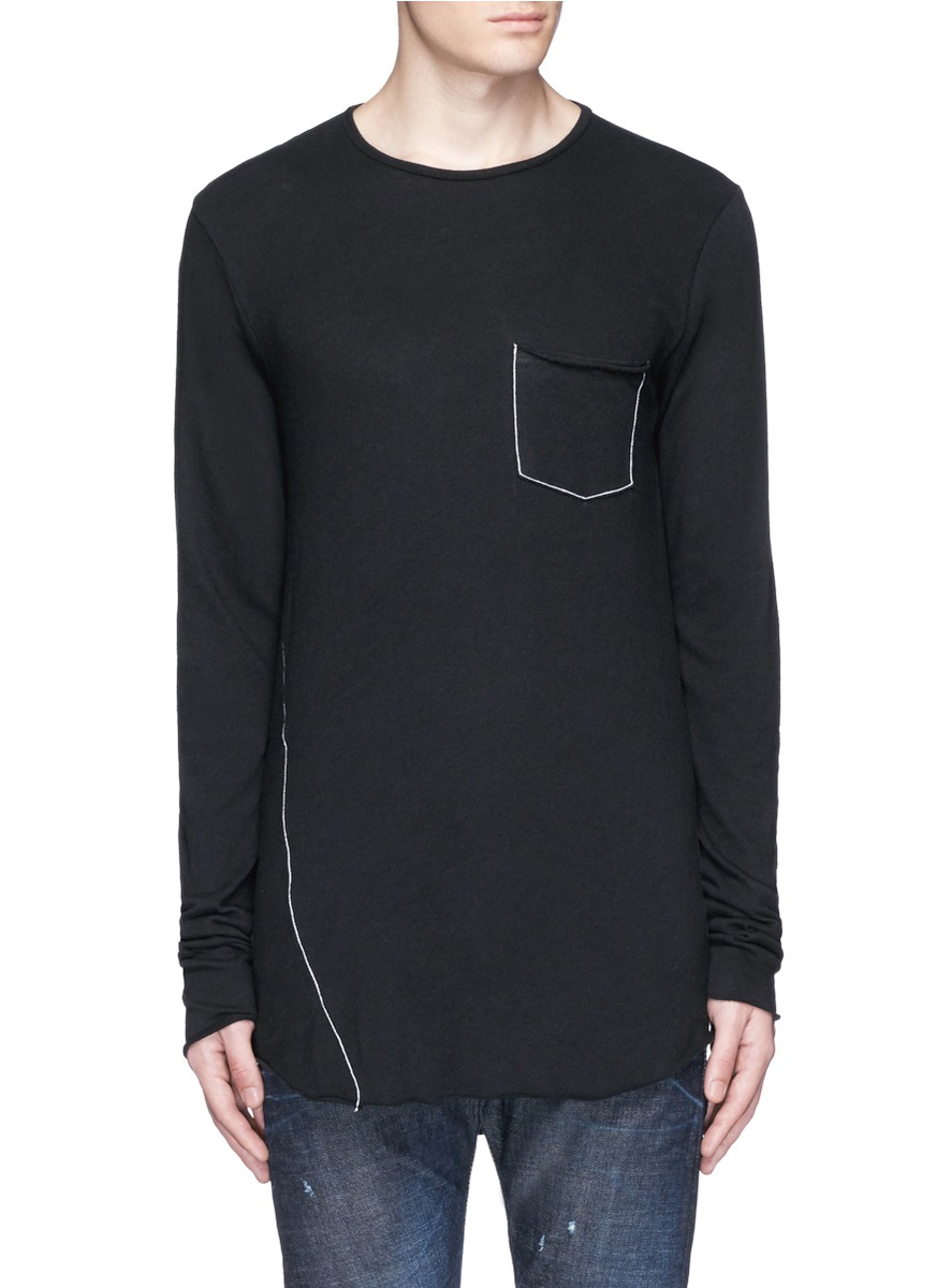 Lyst rag bone 39 hartley 39 contrast chain stitch t shirt for Rag bone shirt