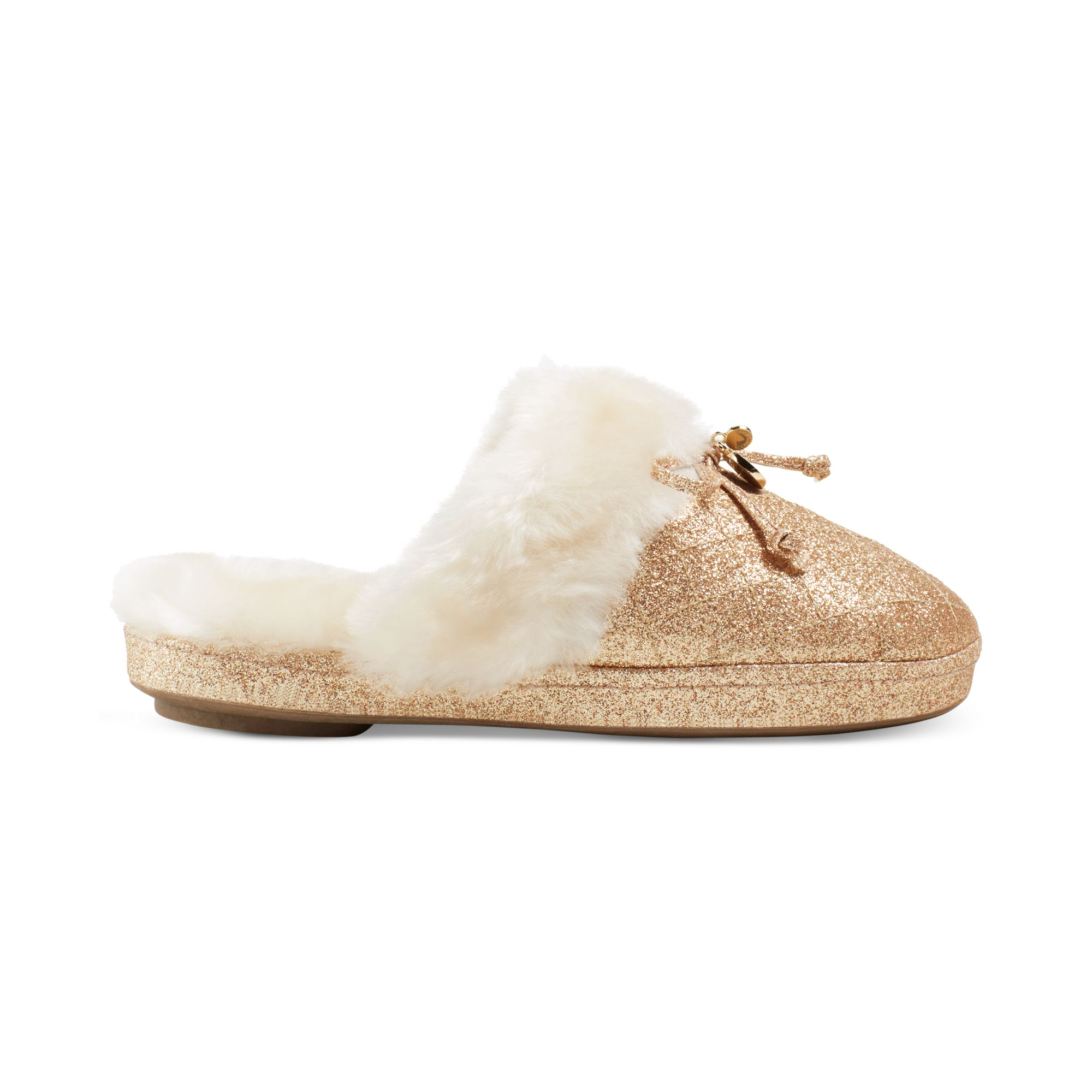 Lyst - Michael Kors Faux-Fur Slippers in Metallic
