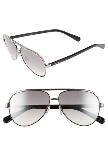 88d0ecb4cdfd6 Jimmy choo   39 linas  39  59mm Aviator Sunglasses - Ruthenium in