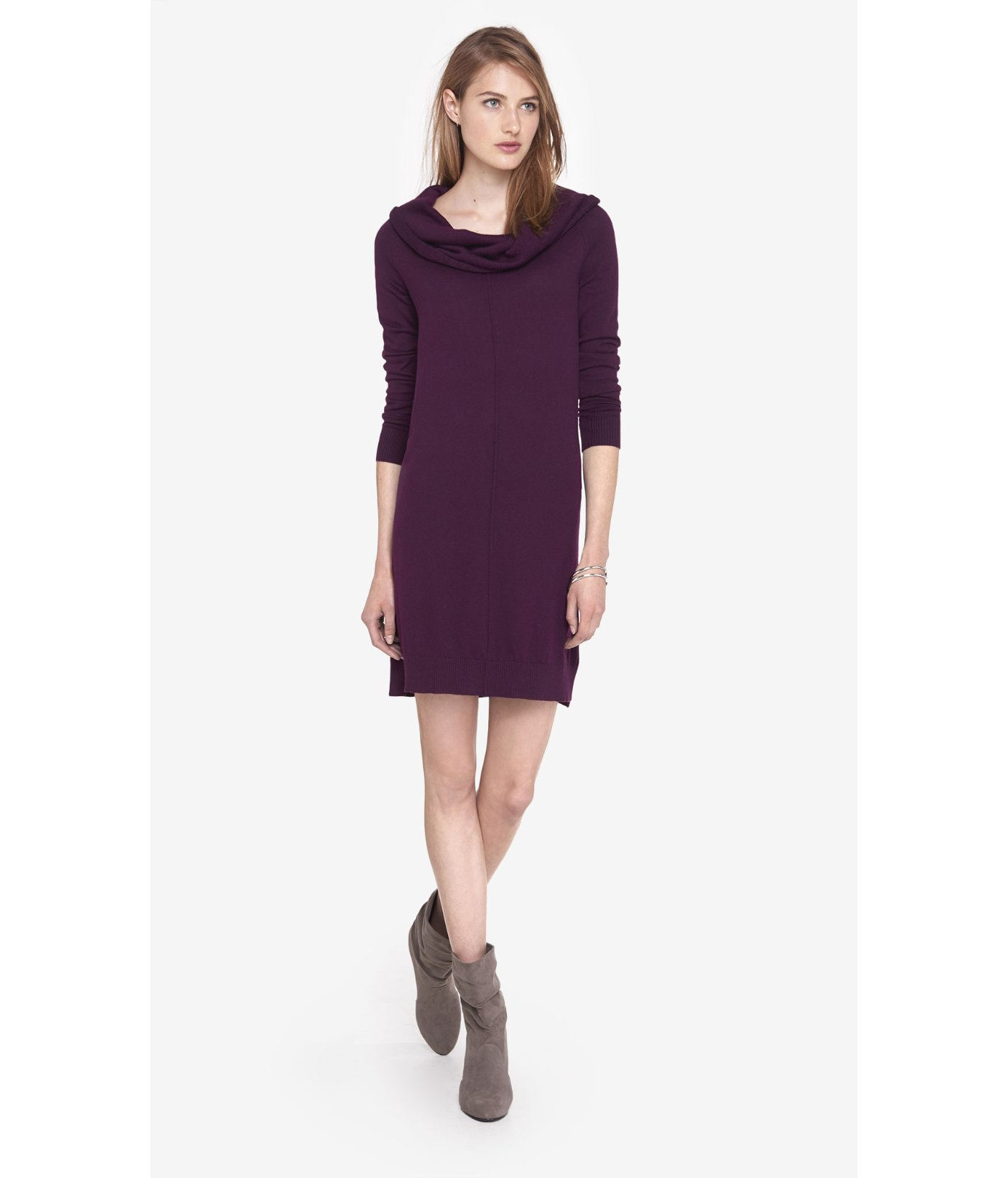 Express Currant Cowl Neck Sweater Dress in Purple | Lyst