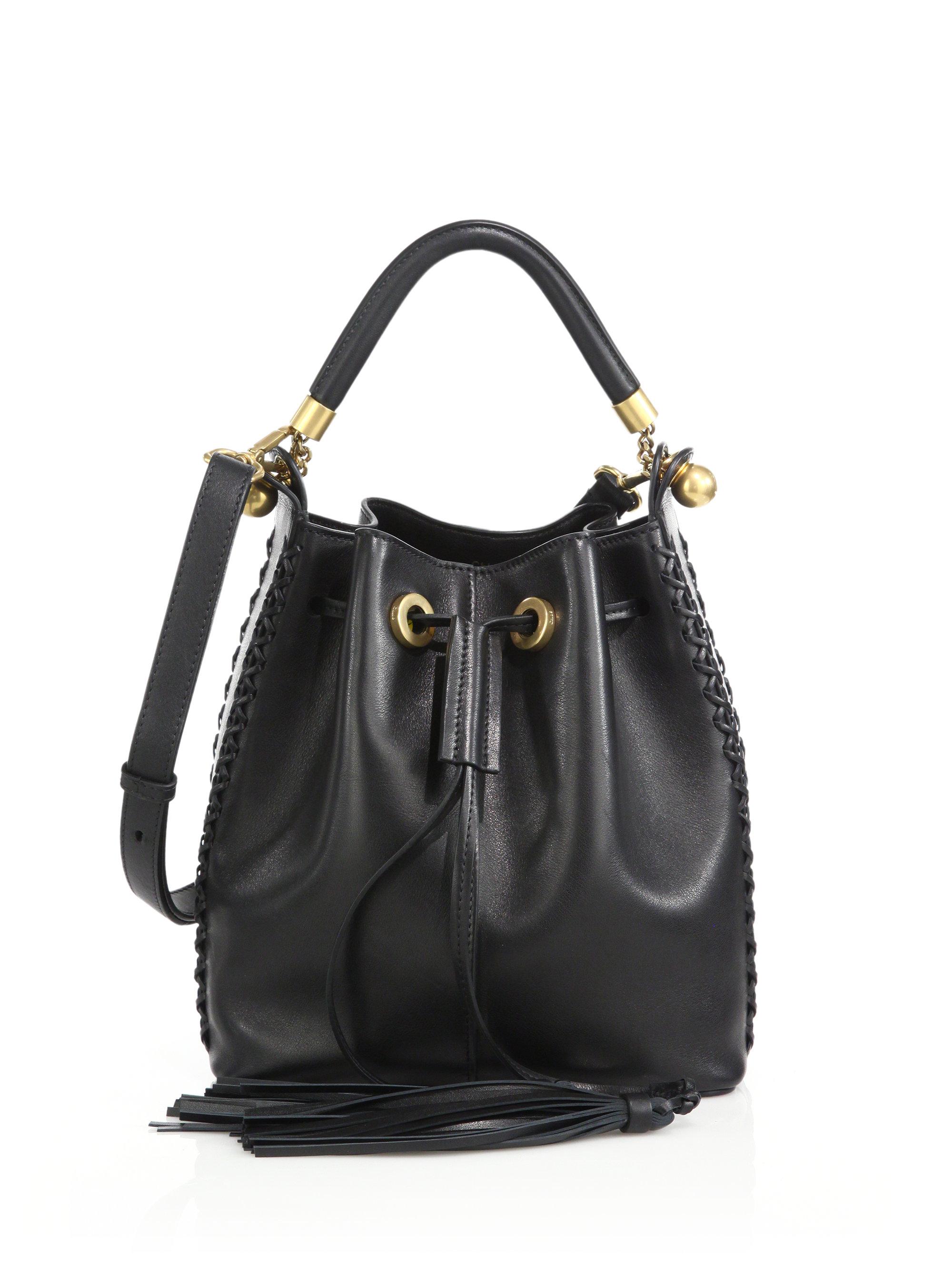 Chlo¨¦ Gala Medium Topstitched Leather Bucket Bag in Black | Lyst