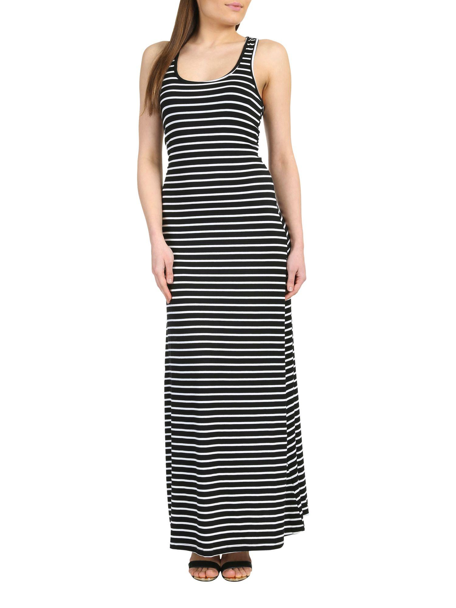 Horizontal Striped Maxi Dress with Cap Sleeve